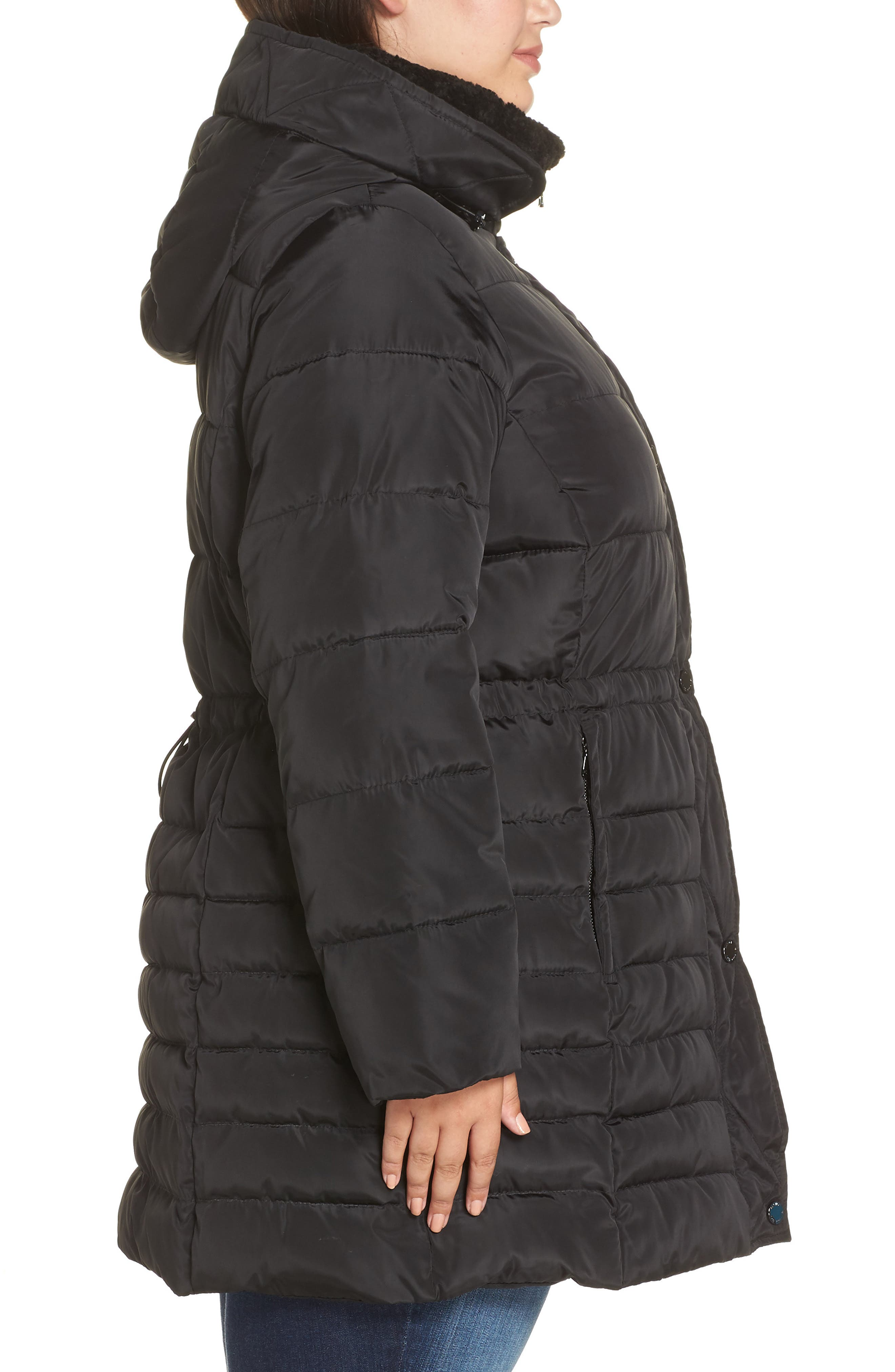 Matte Finish Puffer Coat,                             Alternate thumbnail 3, color,                             001