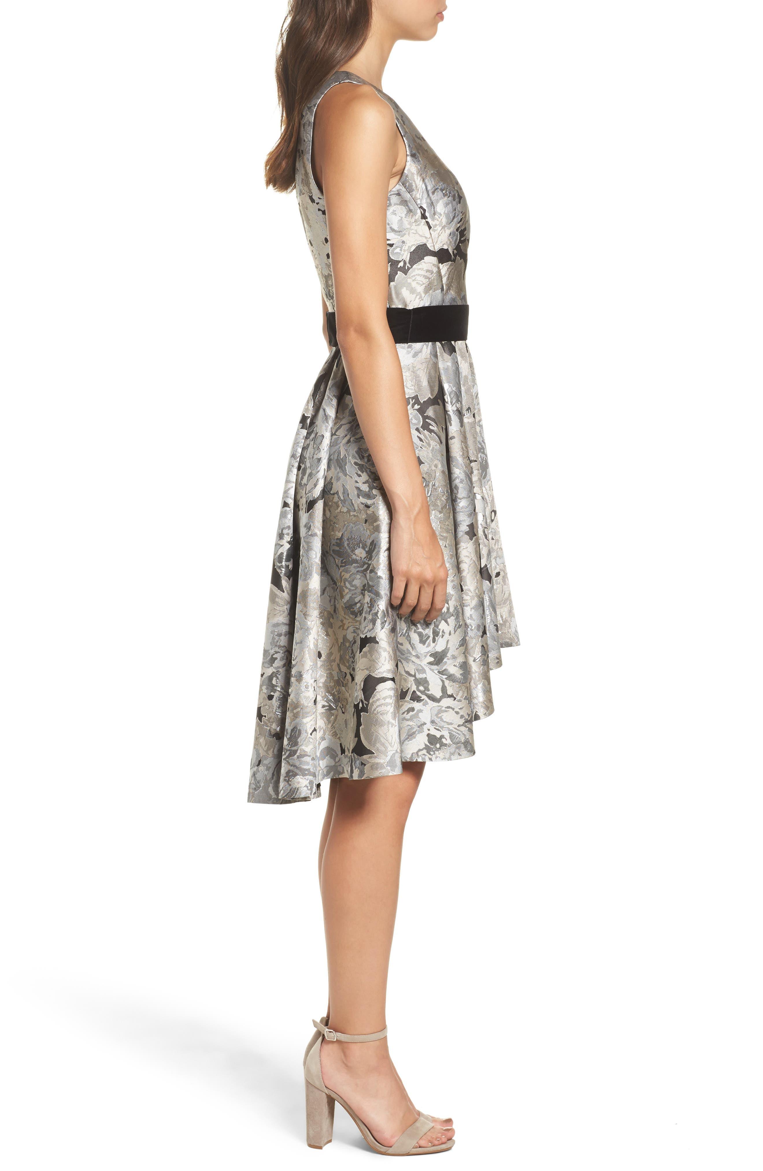 Jacquard High/Low Dress,                             Alternate thumbnail 3, color,                             043