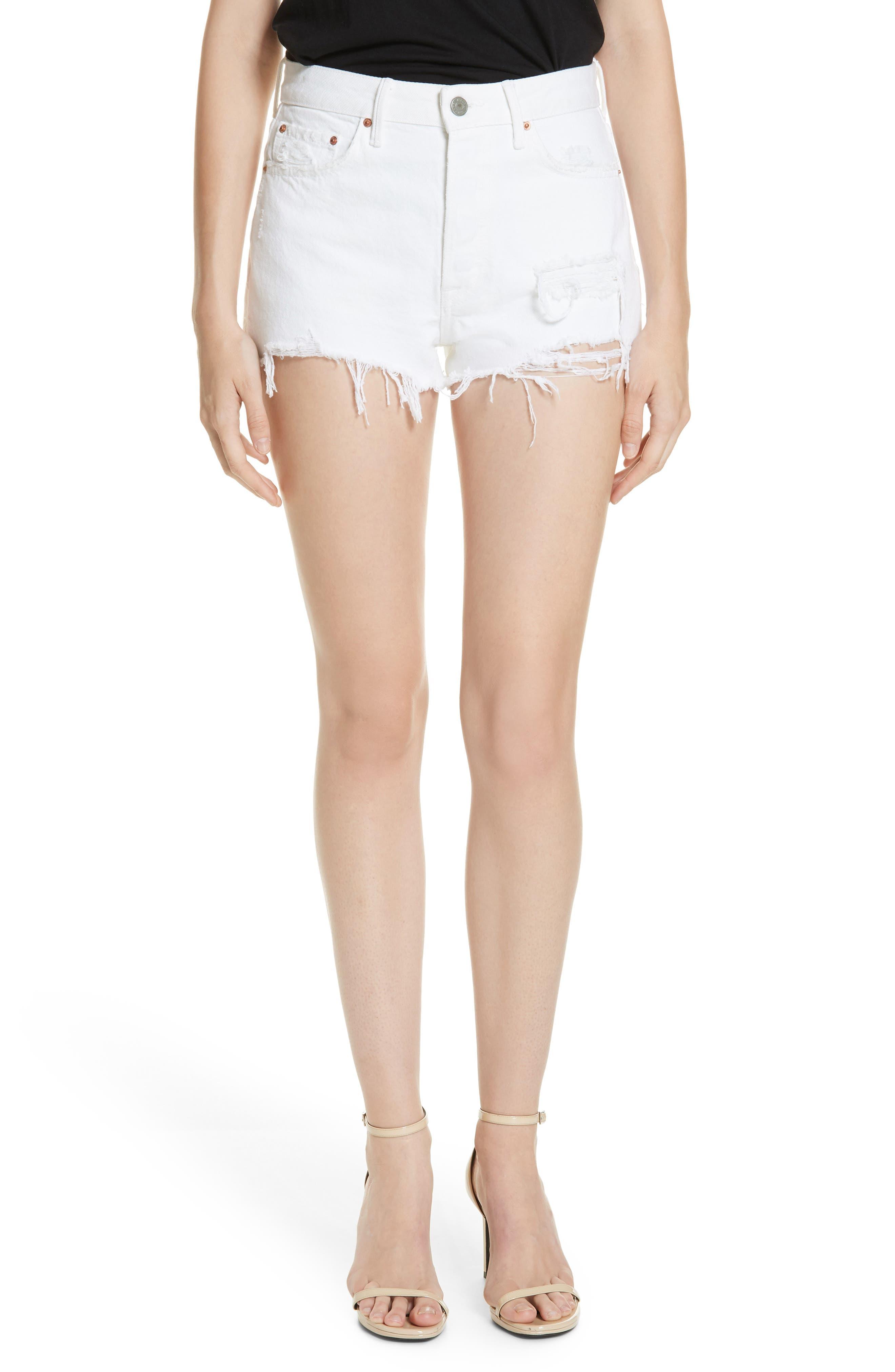 Cindy Rigid High Waist Denim Shorts,                             Main thumbnail 1, color,                             GRANADA