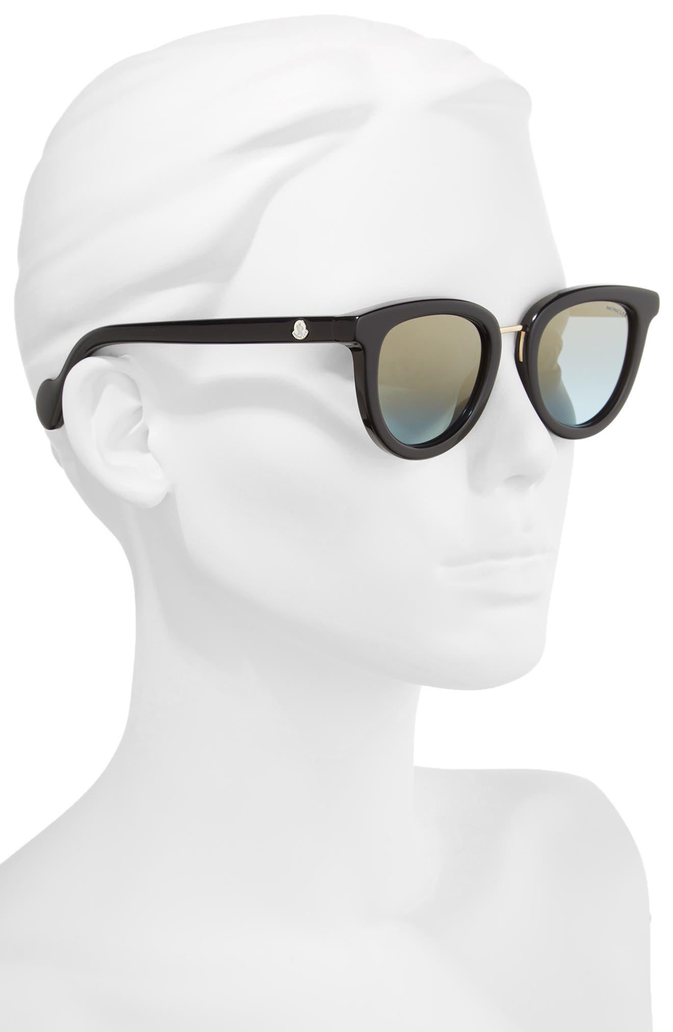 48mm Cat Eye Sunglasses,                             Alternate thumbnail 2, color,                             BLACK/ PALE GOLD/ LIGHT BLUE