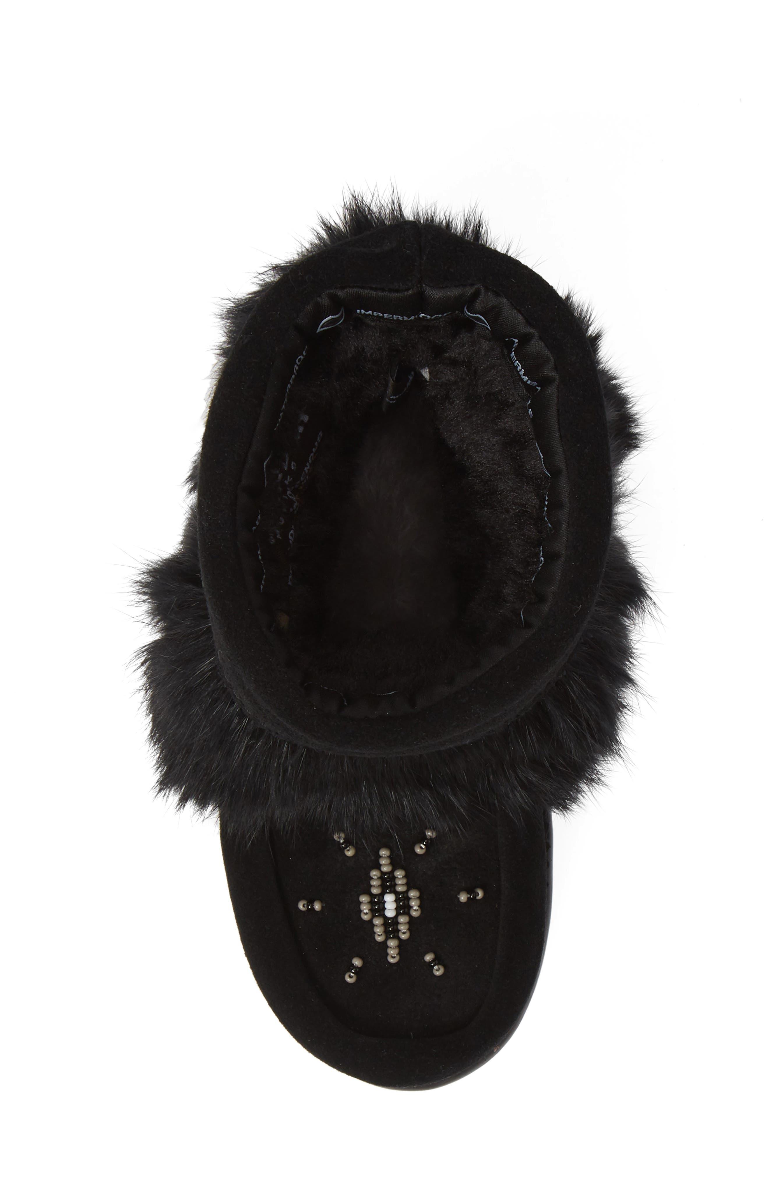 Snowy Owlet Genuine Fur Waterproof Boot,                             Alternate thumbnail 5, color,                             BLACK