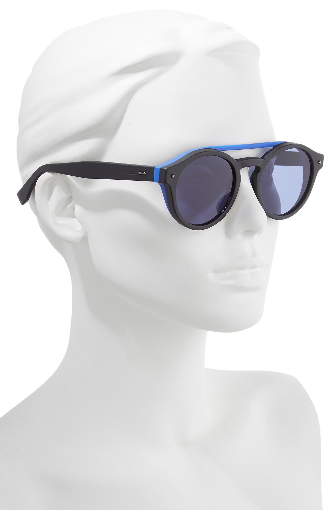 51mm Round Sunglasses,                             Alternate thumbnail 2, color,                             BLACK