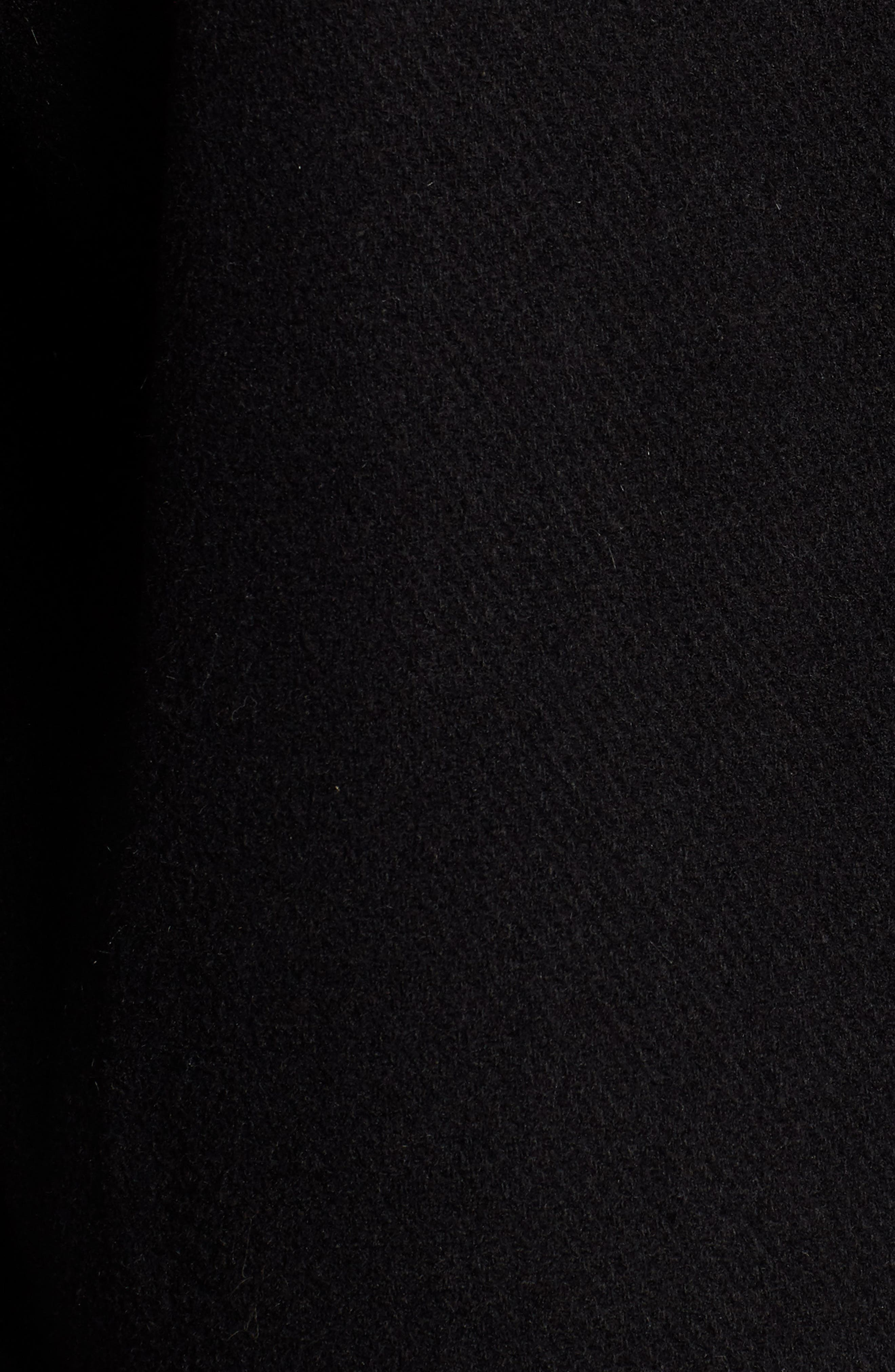 Faux Fur Panel Wool Blend Coat,                             Alternate thumbnail 7, color,                             BLACK