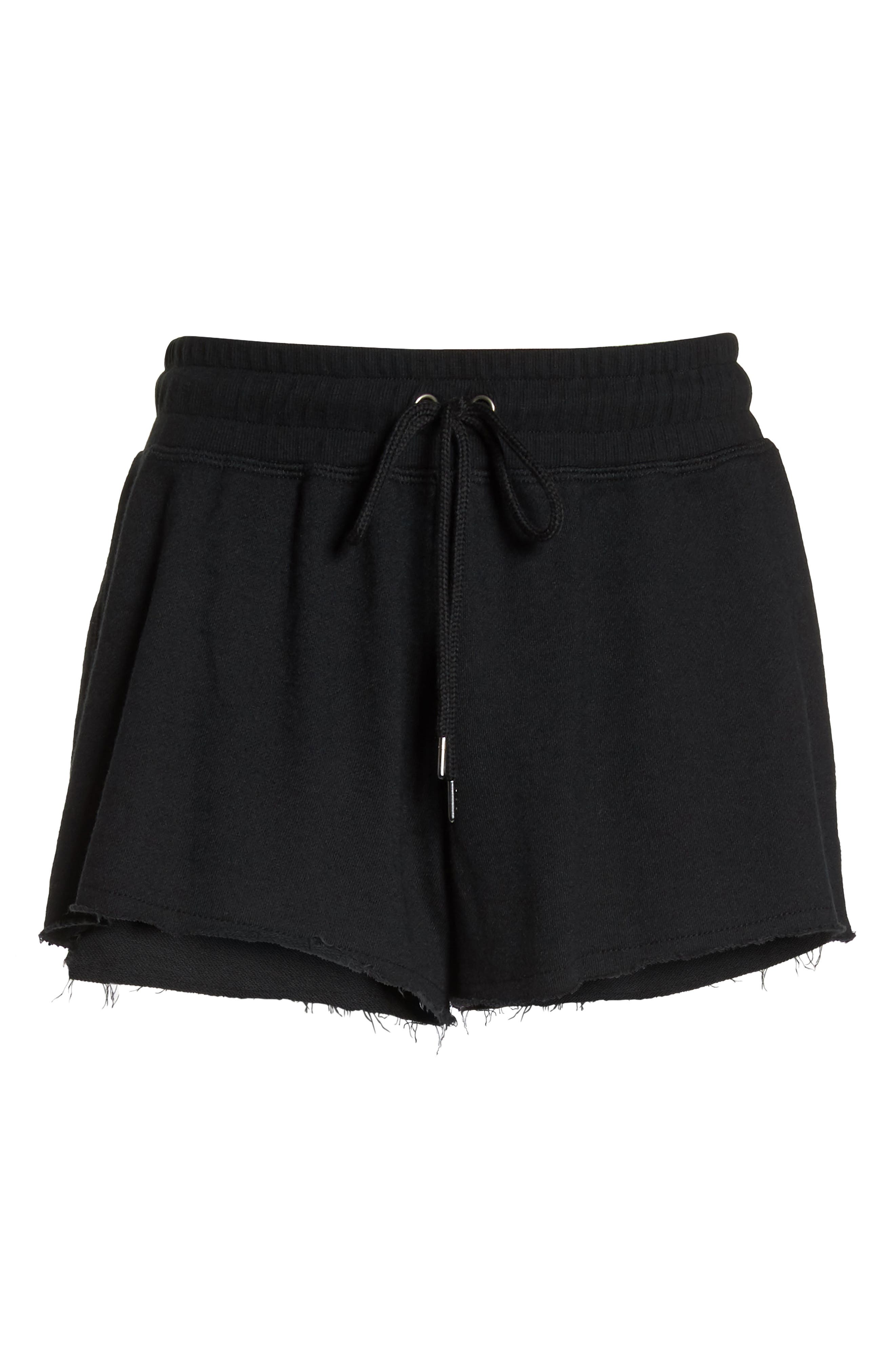 French Terry Sleep Shorts,                             Alternate thumbnail 6, color,                             FADED BLACK