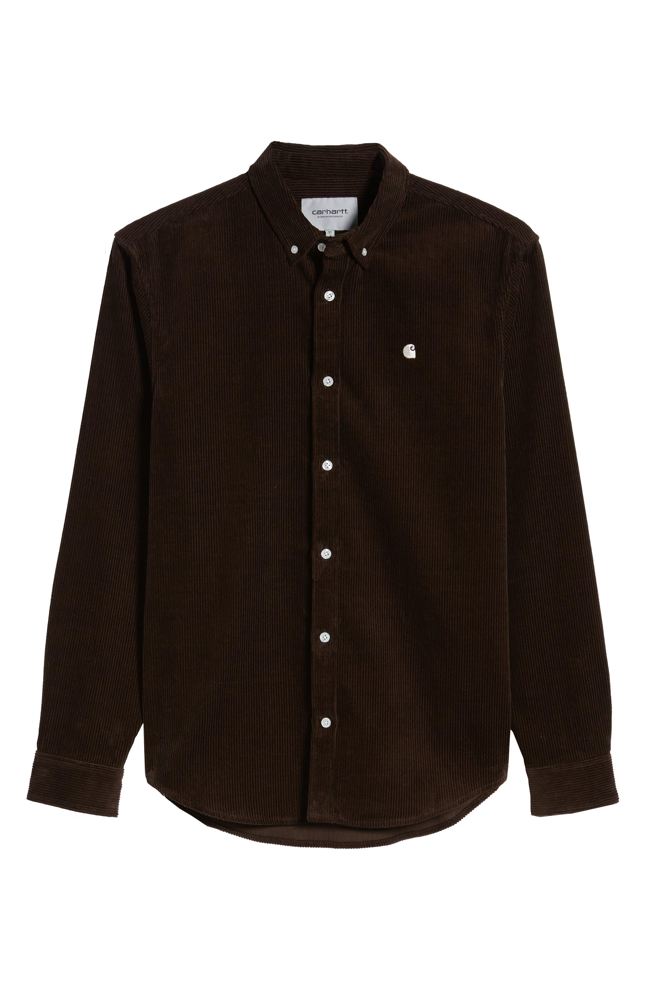 Madison Corduroy Shirt,                             Alternate thumbnail 5, color,                             TOBACCO / WAX