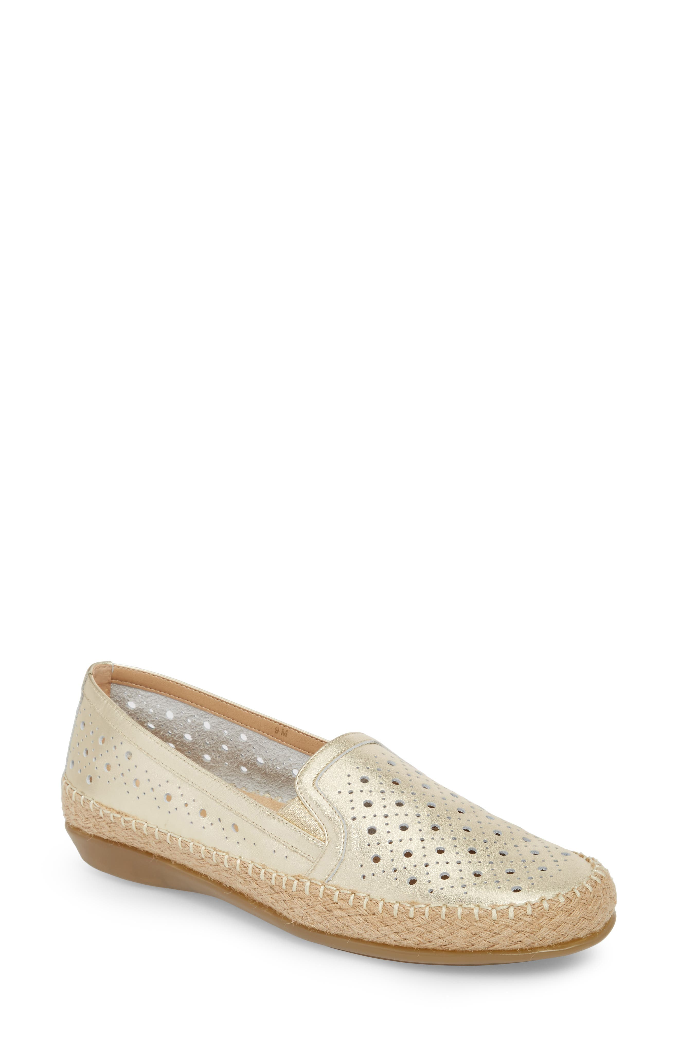 Nicki Perforated Espadrille Flat,                         Main,                         color, PLATINO LEATHER