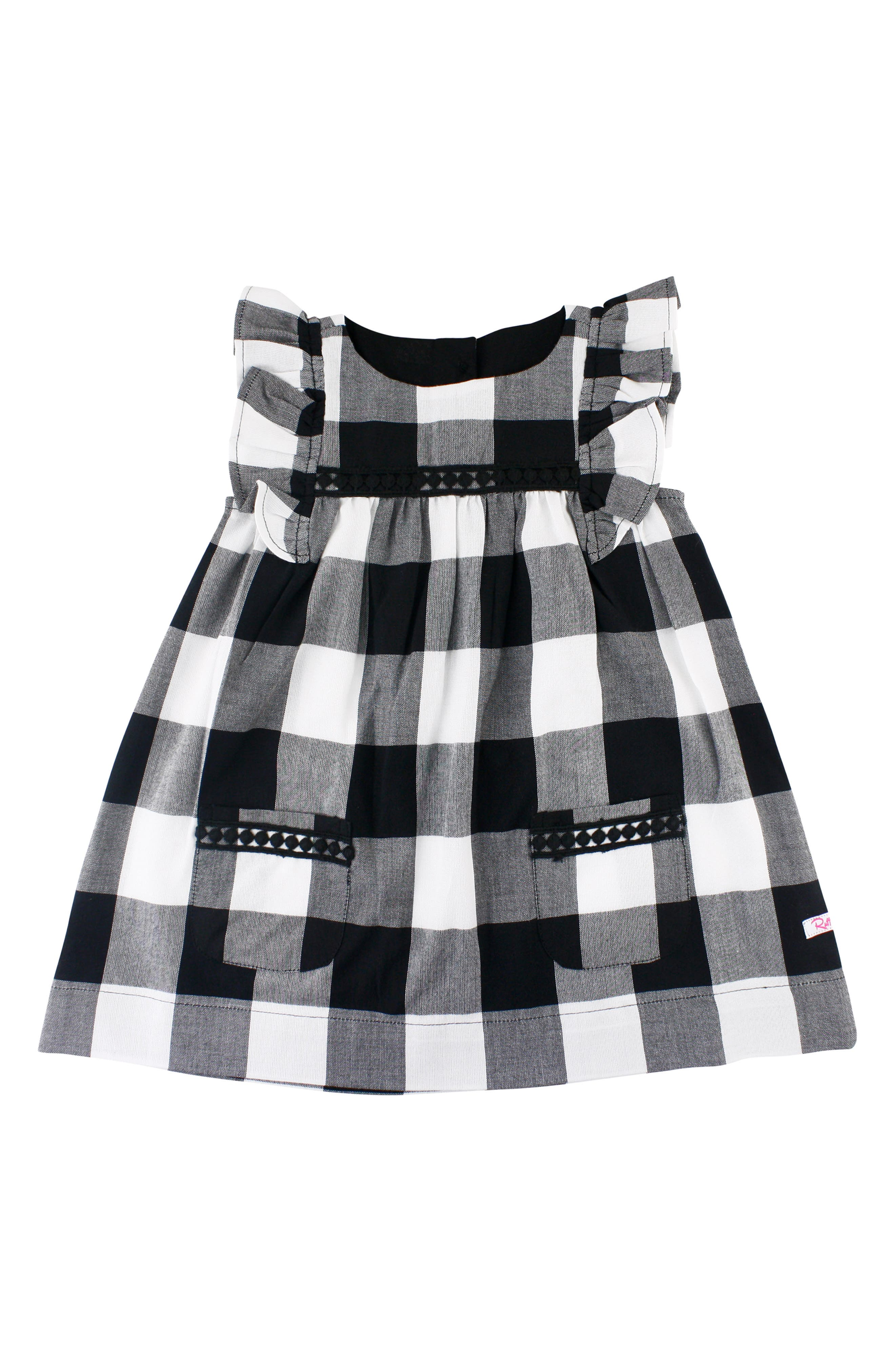 Check Flutter Sleeve Dress & Bow Head Wrap Set,                             Alternate thumbnail 2, color,                             001