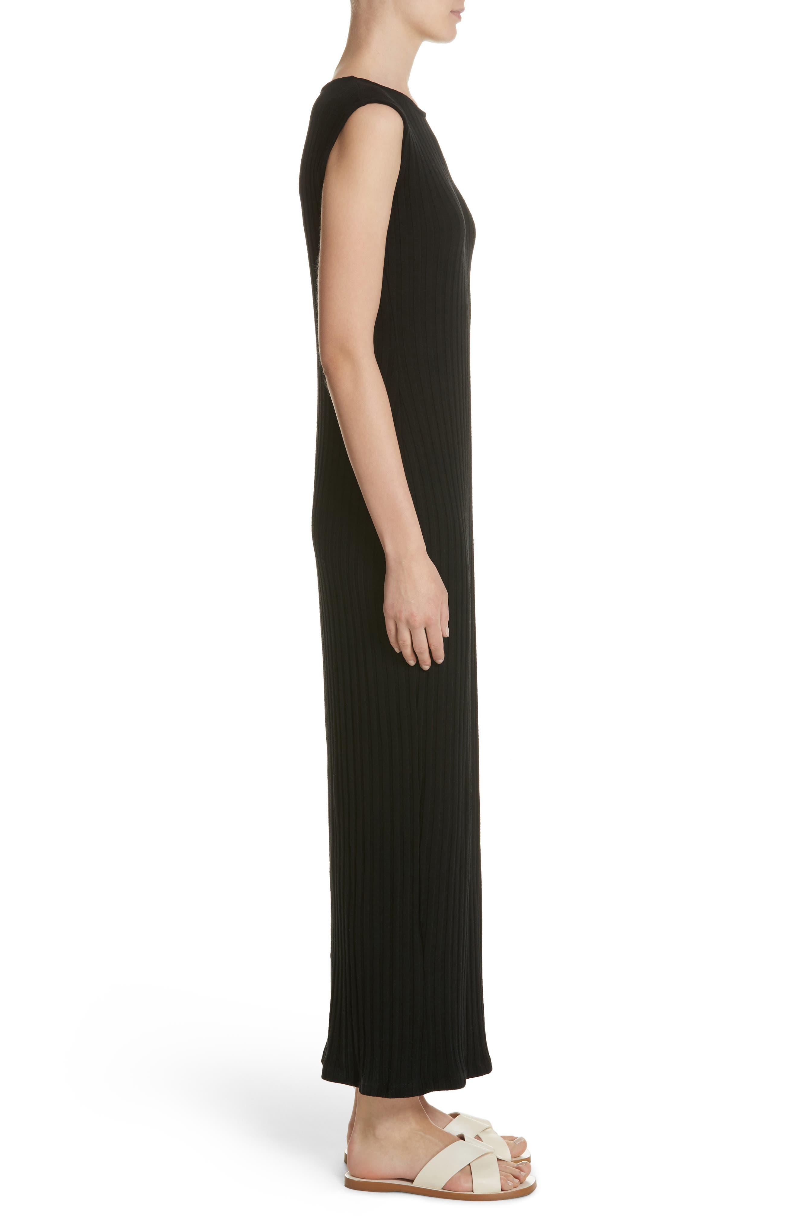 Tali Stretch Ribbed Body-Con Dress,                             Alternate thumbnail 3, color,                             BLACK