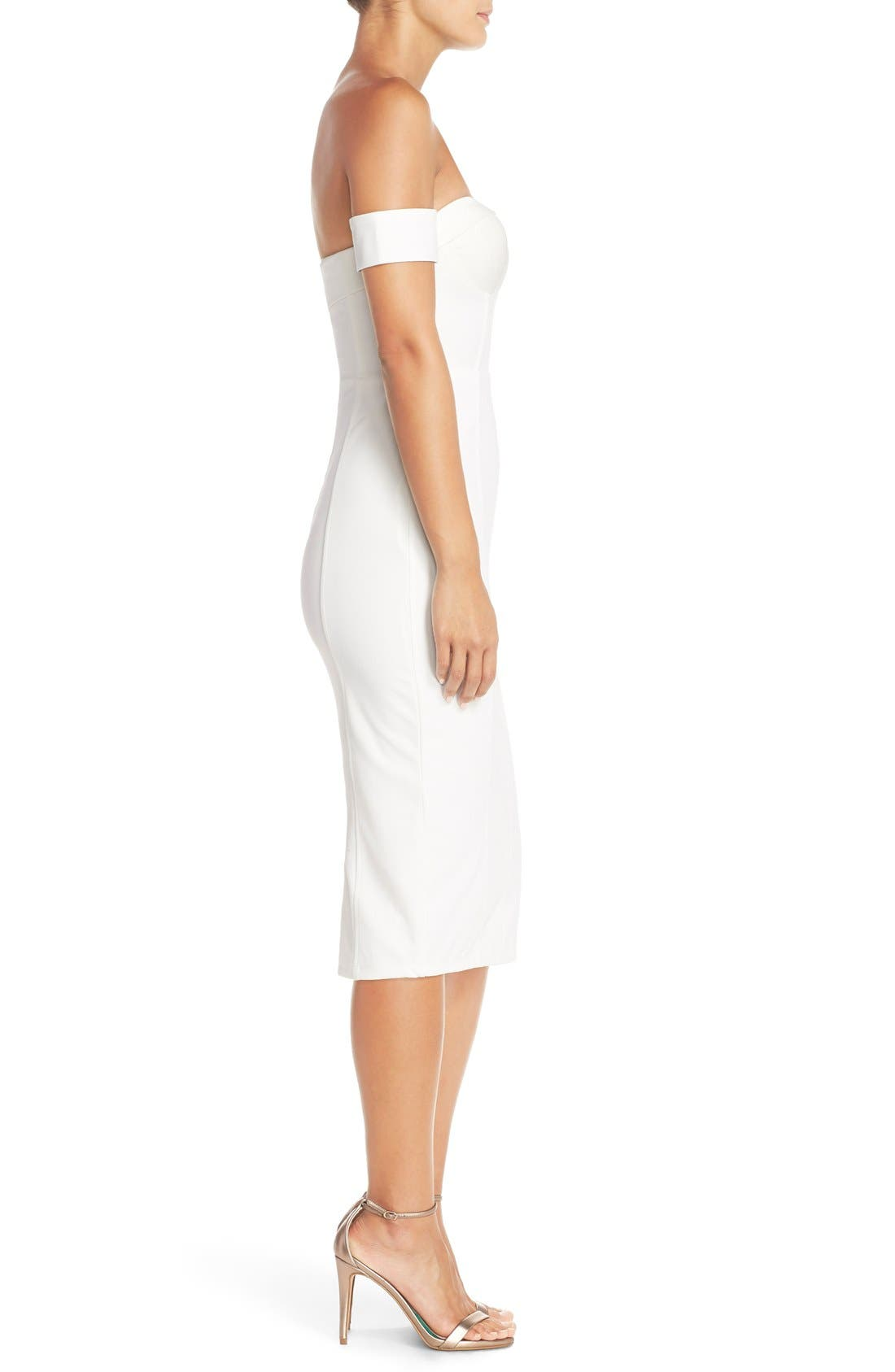 MishaCollection 'Chloe' Off the Shoulder Stretch Midi Dress,                             Alternate thumbnail 4, color,                             901