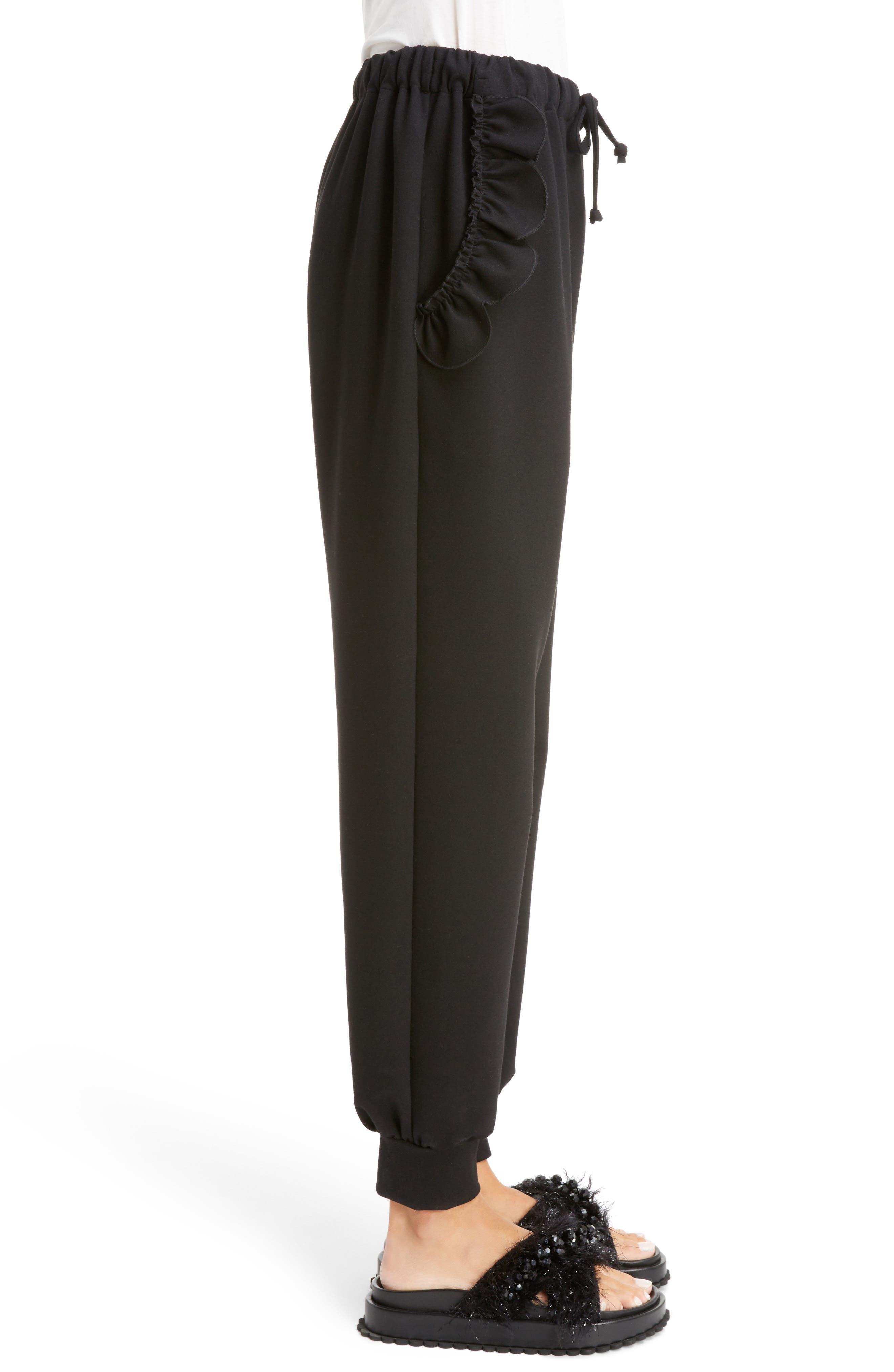 Ruffle Embellished Jogging Pants,                             Alternate thumbnail 3, color,                             BLACK