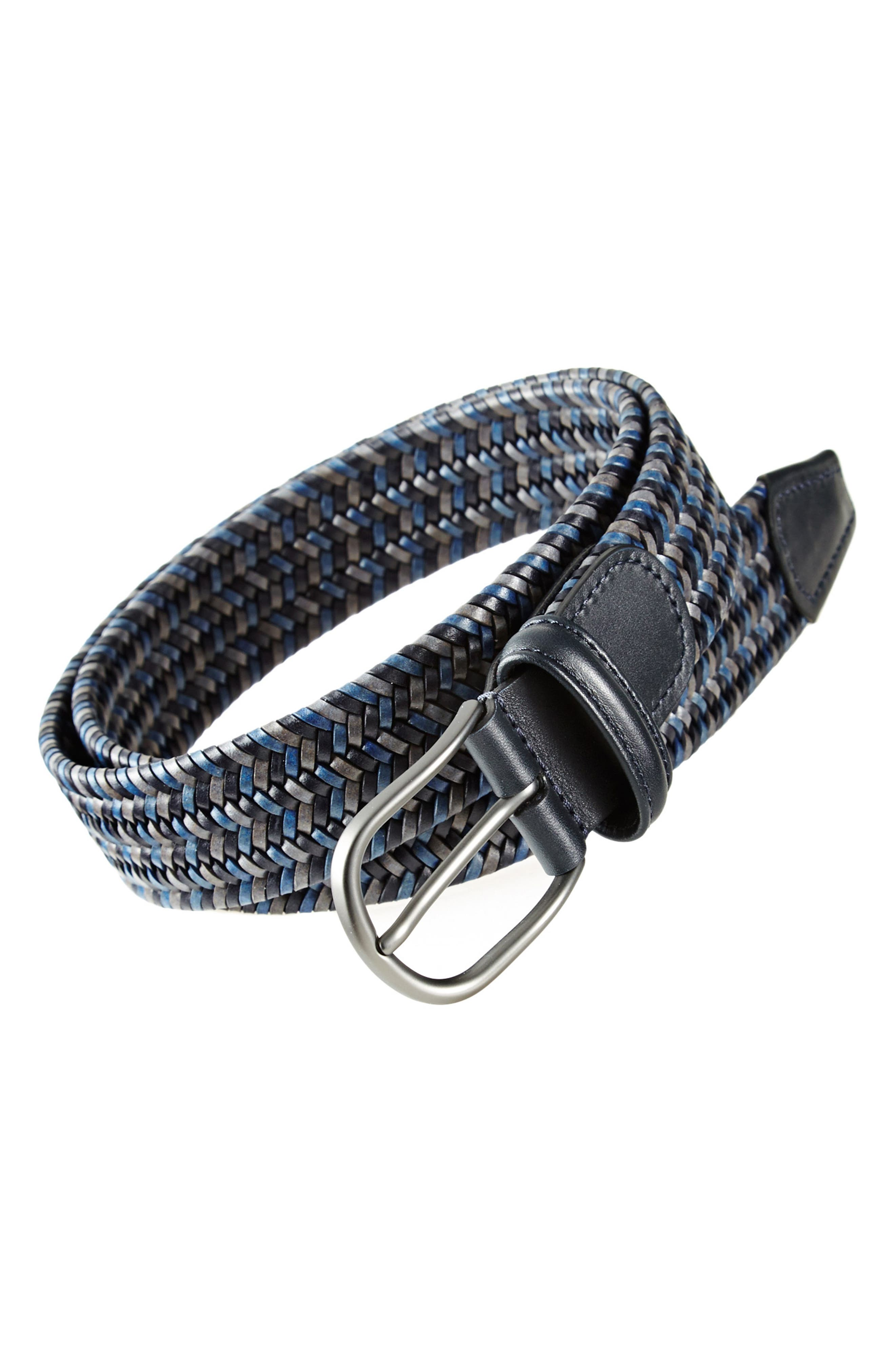 ANDERSONS Stretch Leather Belt in Grey/ Blue/ Navy