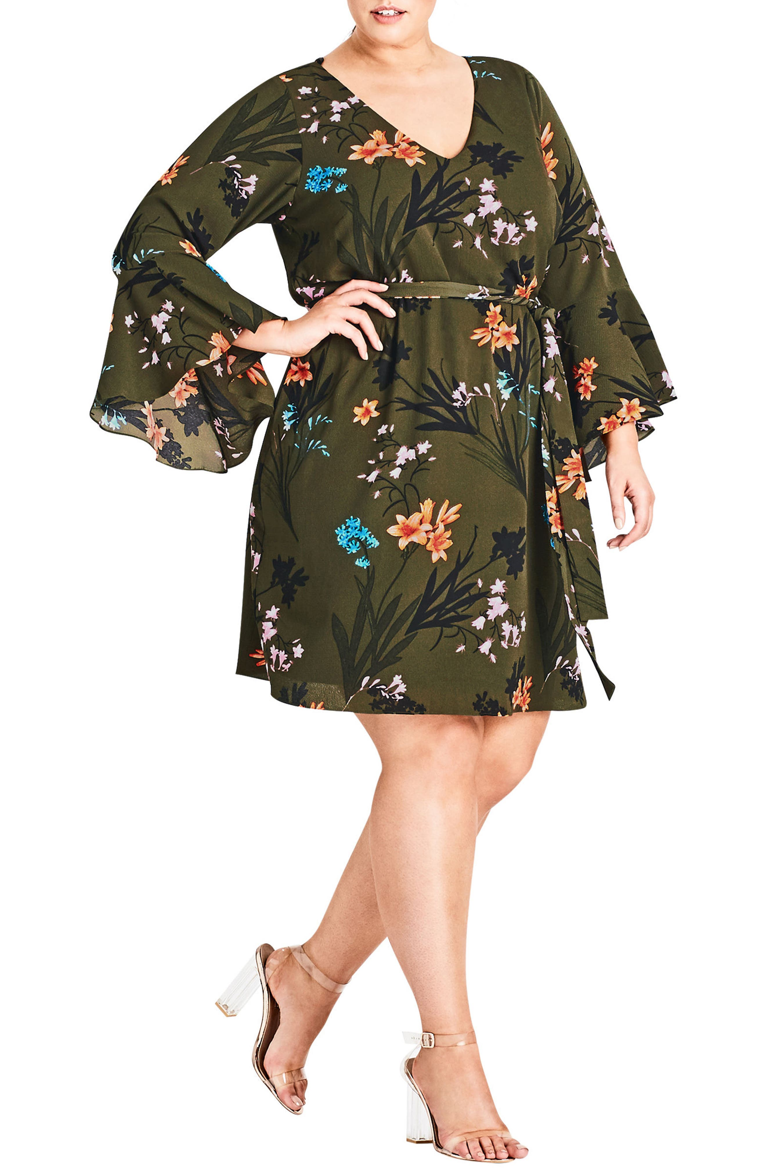 CITY CHIC,                             Jungle Floral Bell Sleeve Dress,                             Main thumbnail 1, color,                             309