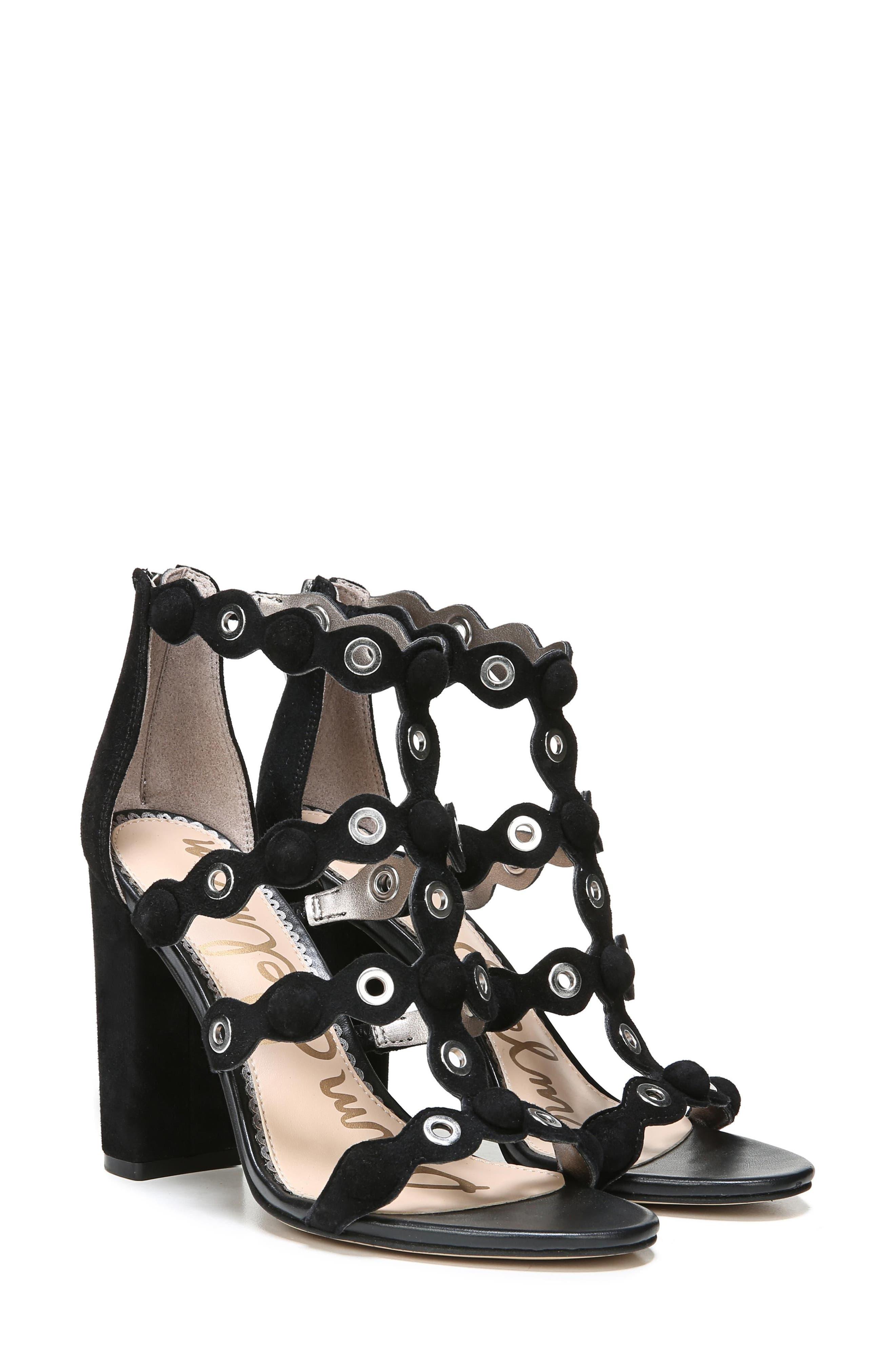 Yuli Grommet Sandal,                             Alternate thumbnail 8, color,                             BLACK LEATHER