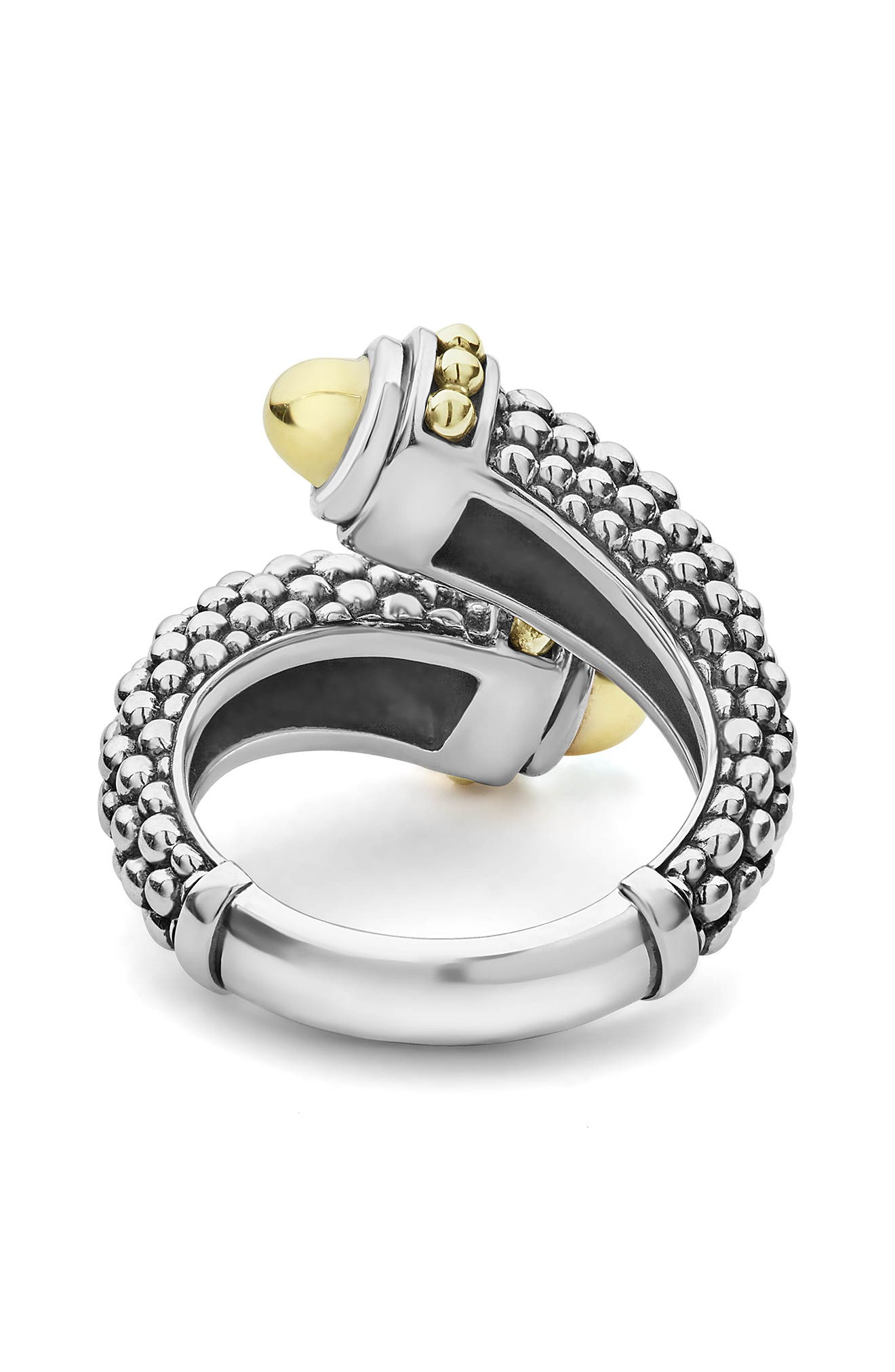 Signature Caviar Gold Cap Crossover Ring,                             Alternate thumbnail 3, color,                             SILVER/ GOLD