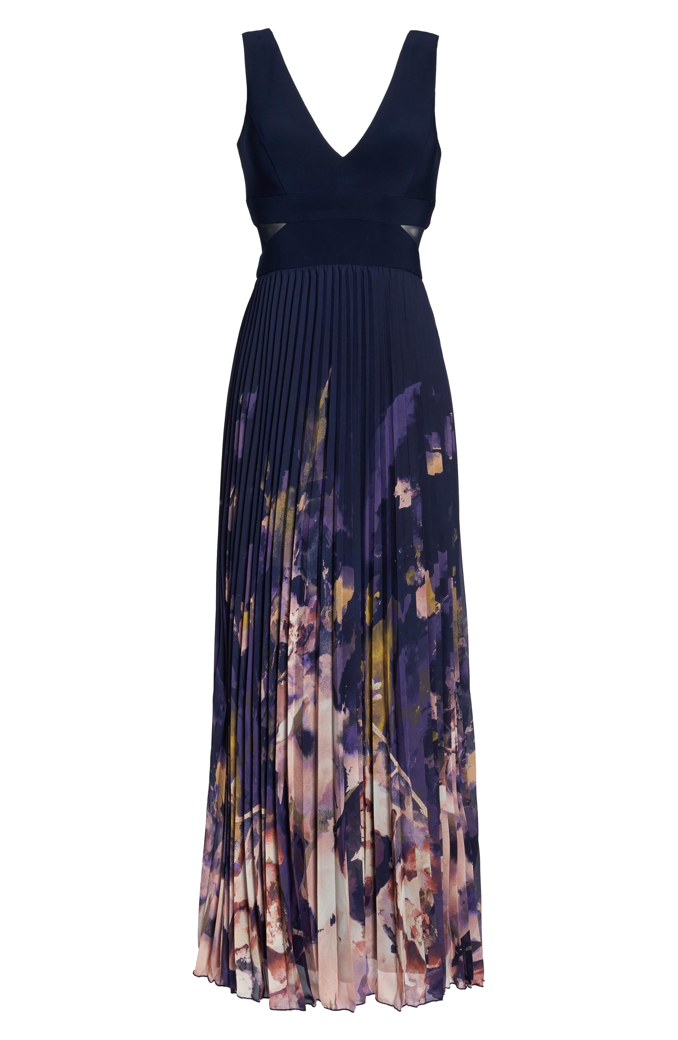 Floral Border A-Line Chiffon Gown,                             Alternate thumbnail 6, color,                             488