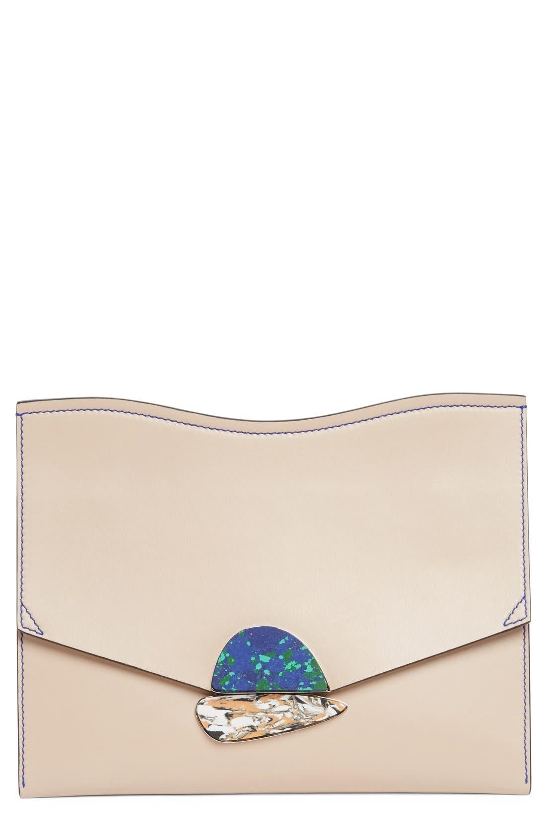 Medium Calfskin Leather Clutch,                             Main thumbnail 1, color,                             250