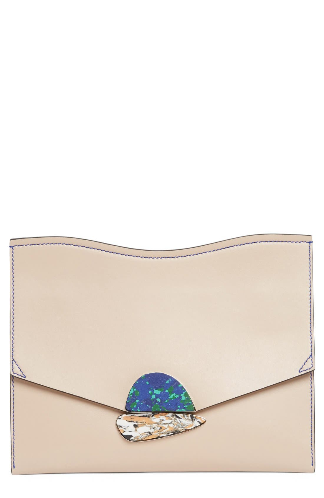Medium Calfskin Leather Clutch,                         Main,                         color, 250