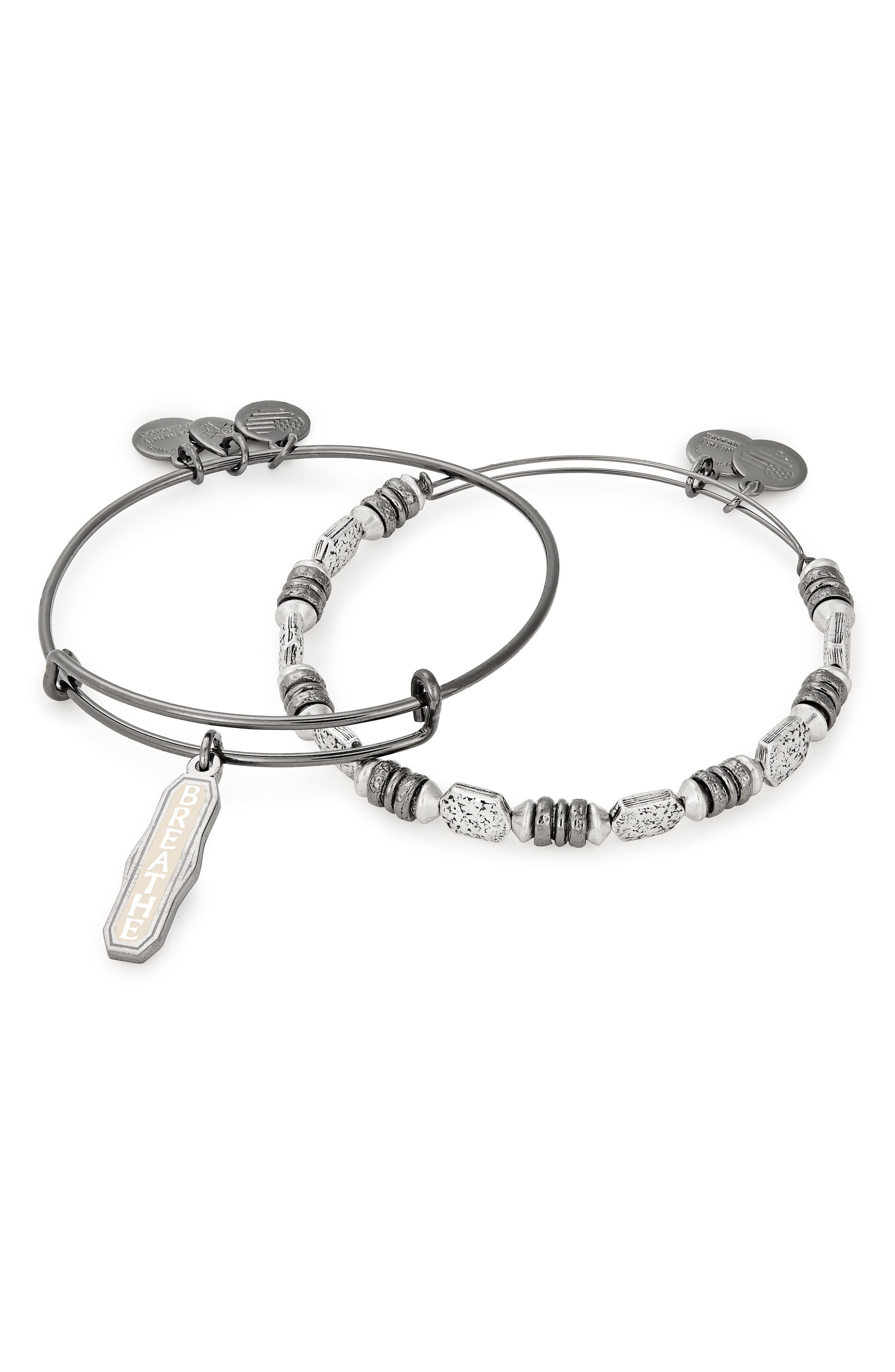 Color Infusion Breathe Bangle Set,                             Alternate thumbnail 2, color,                             MIDNIGHT SILVER