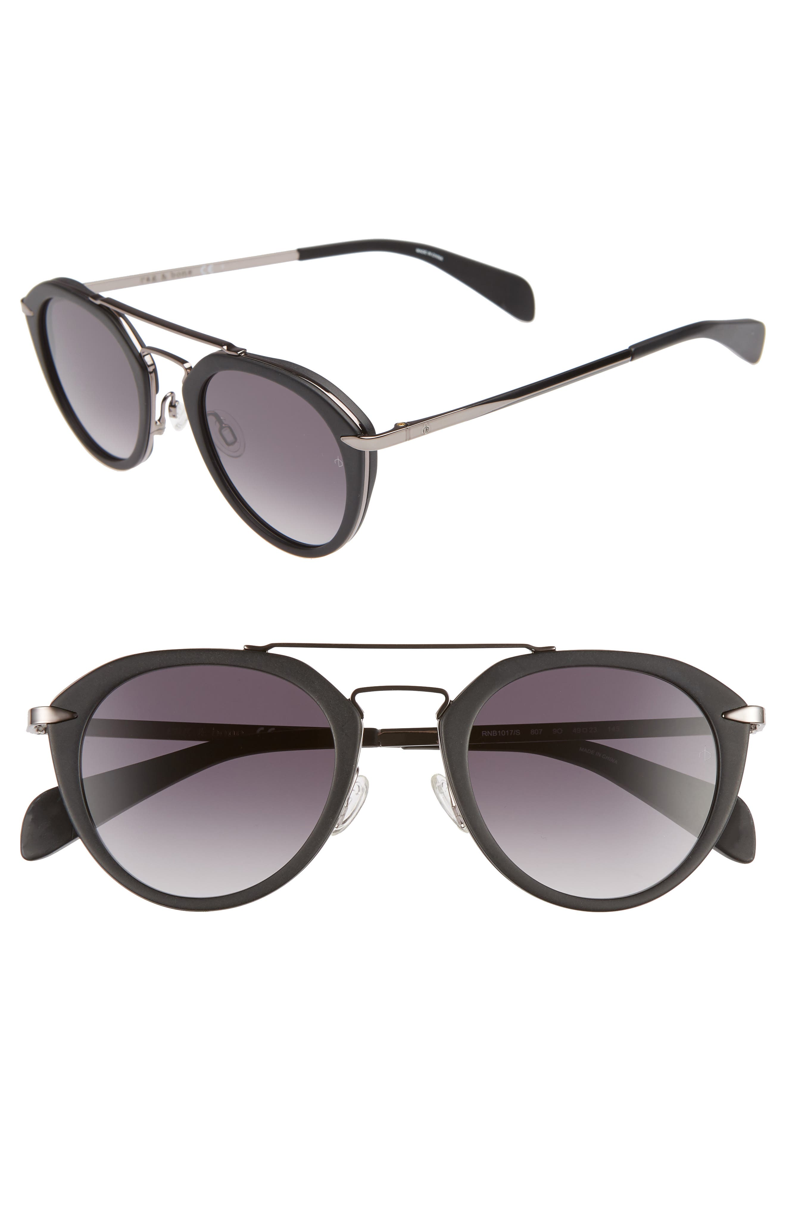 49mm Round Sunglasses,                             Main thumbnail 1, color,                             BLACK