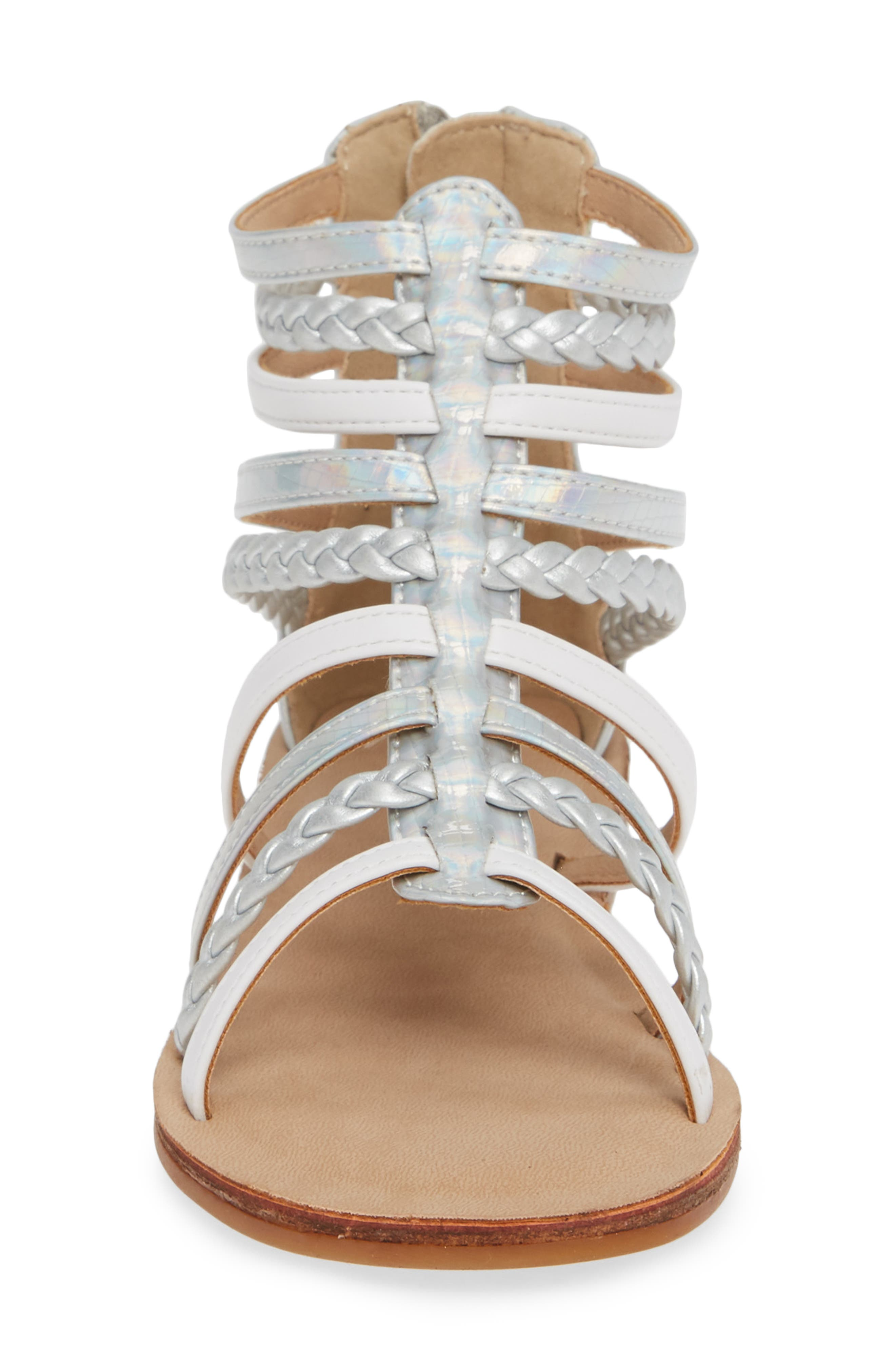 Sonja Braided Gladiator Sandal,                             Alternate thumbnail 4, color,                             WHITE/SILVER FAUX LEATHER