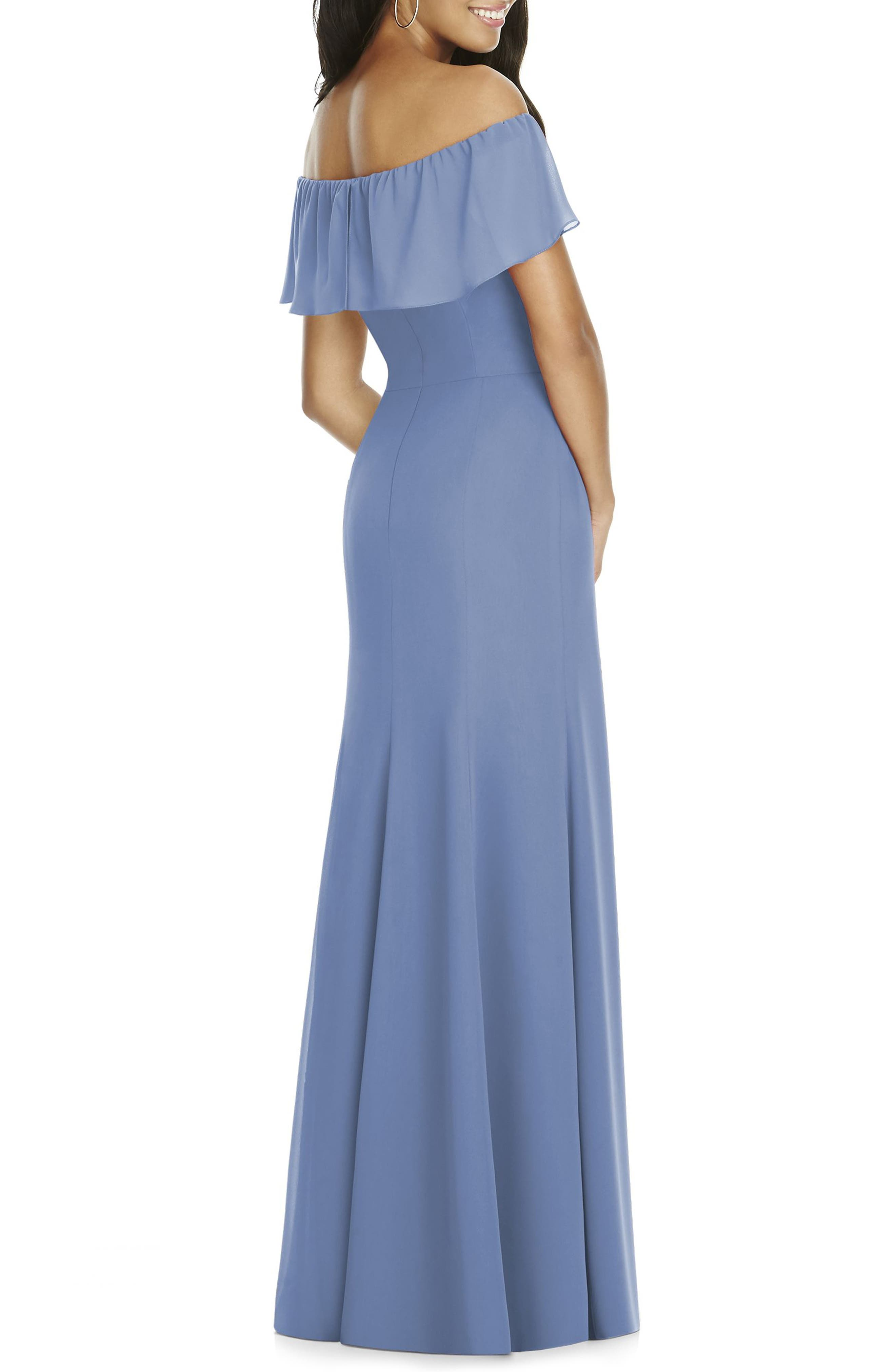 Ruffle Off the Shoulder Chiffon Gown,                             Alternate thumbnail 2, color,                             452