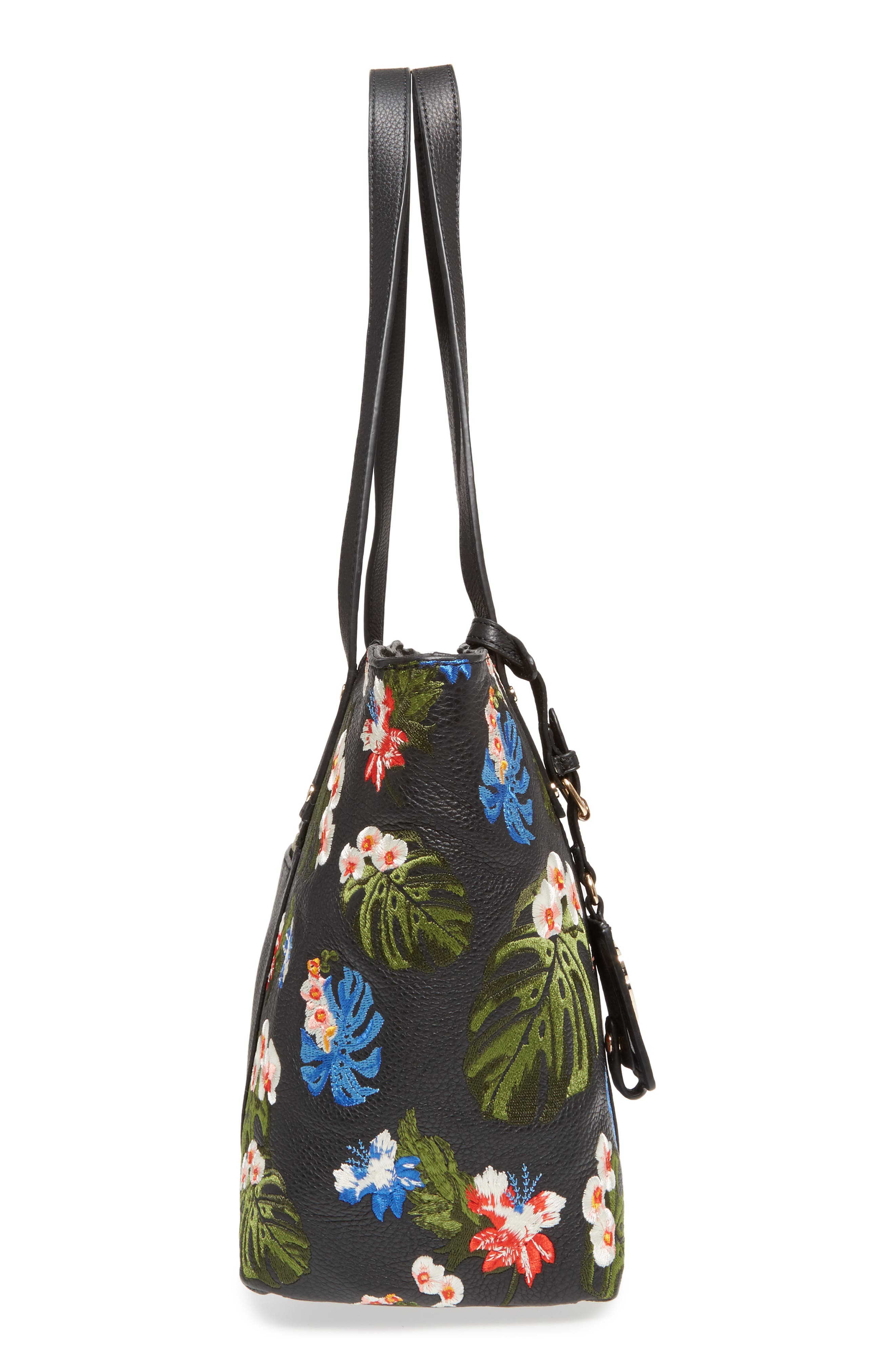 Cozumel Floral Embroidered Leather Tote,                             Alternate thumbnail 5, color,                             001