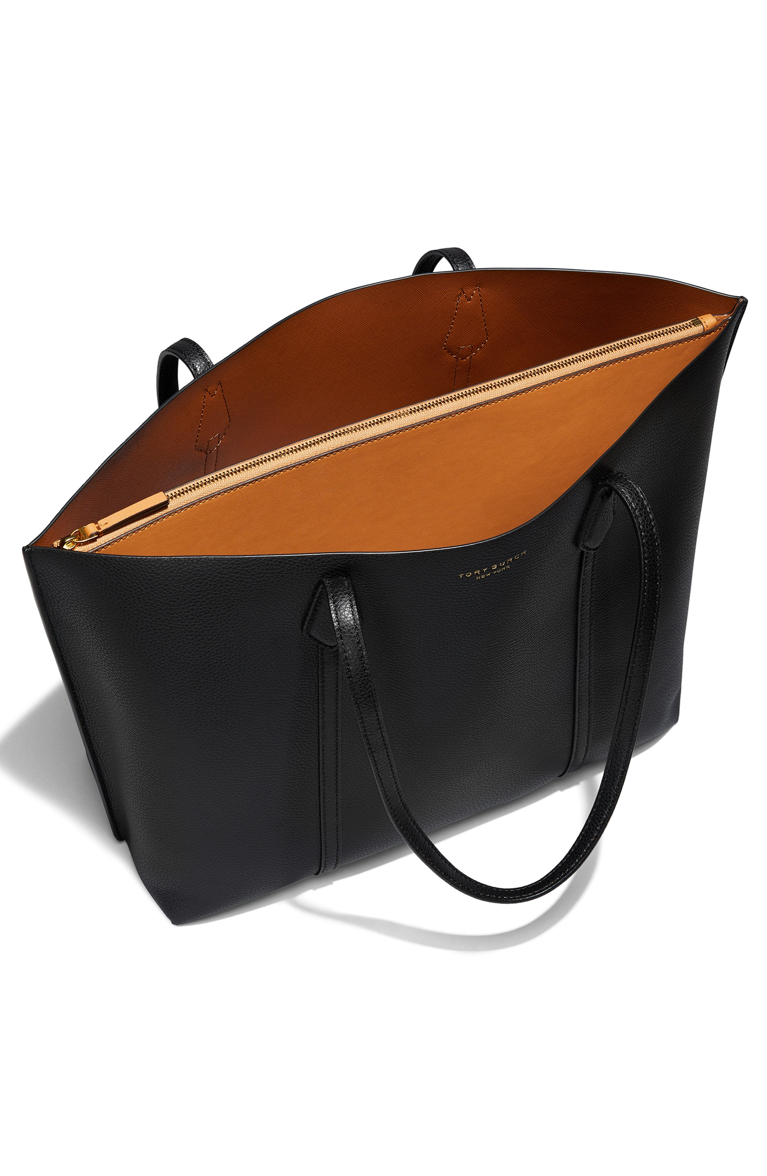 TORY BURCH,                             Perry Leather 13-Inch Laptop Tote,                             Alternate thumbnail 2, color,                             BLACK