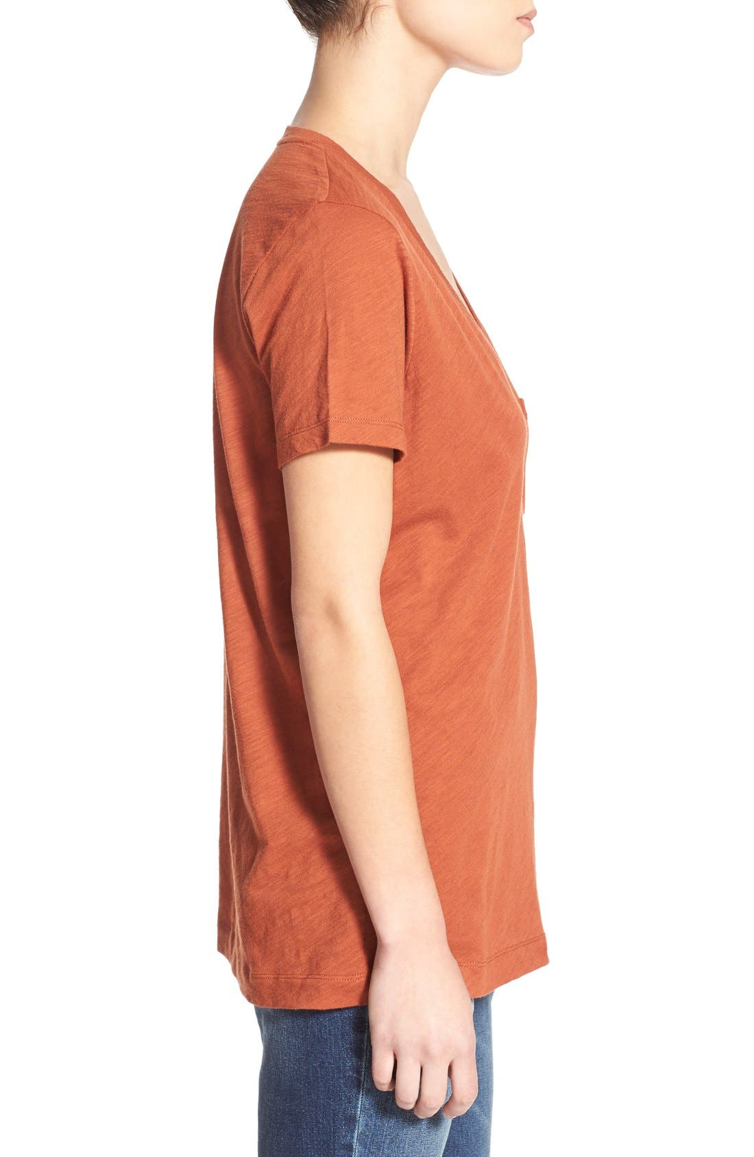 Whisper Cotton V-Neck Pocket Tee,                             Alternate thumbnail 56, color,