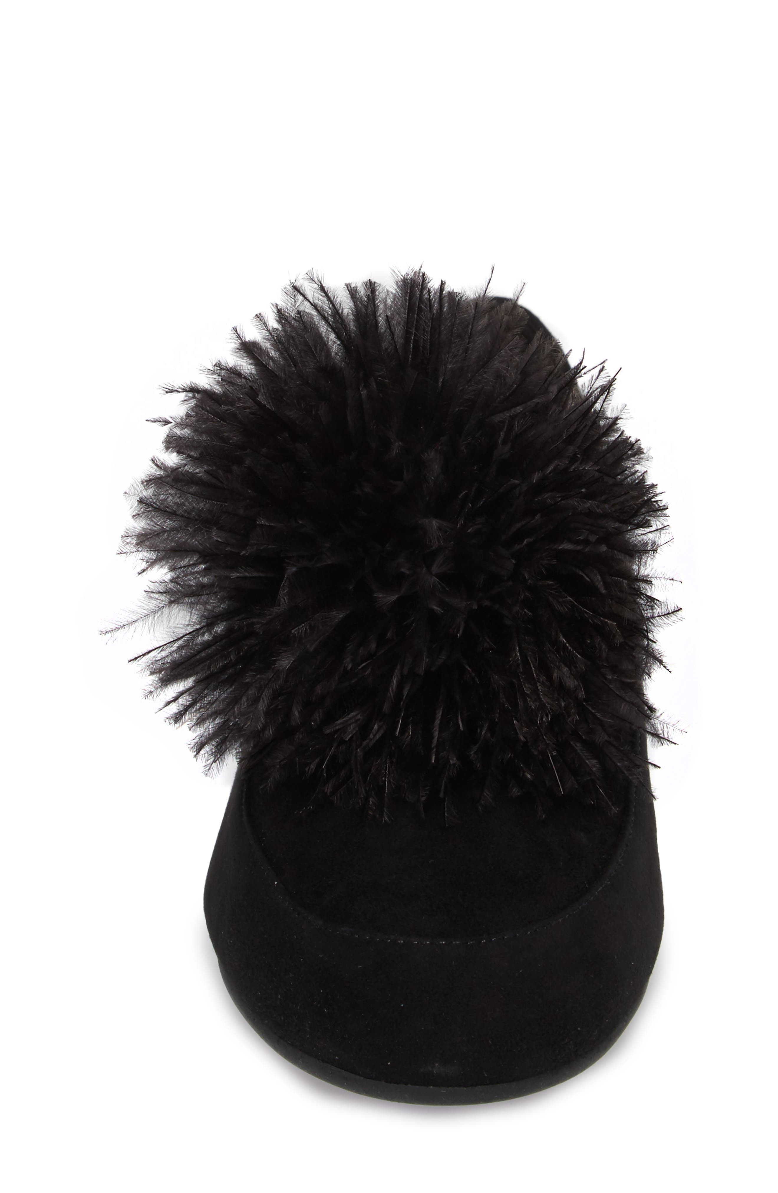 Fara Feather Pom Loafer,                             Alternate thumbnail 4, color,                             001