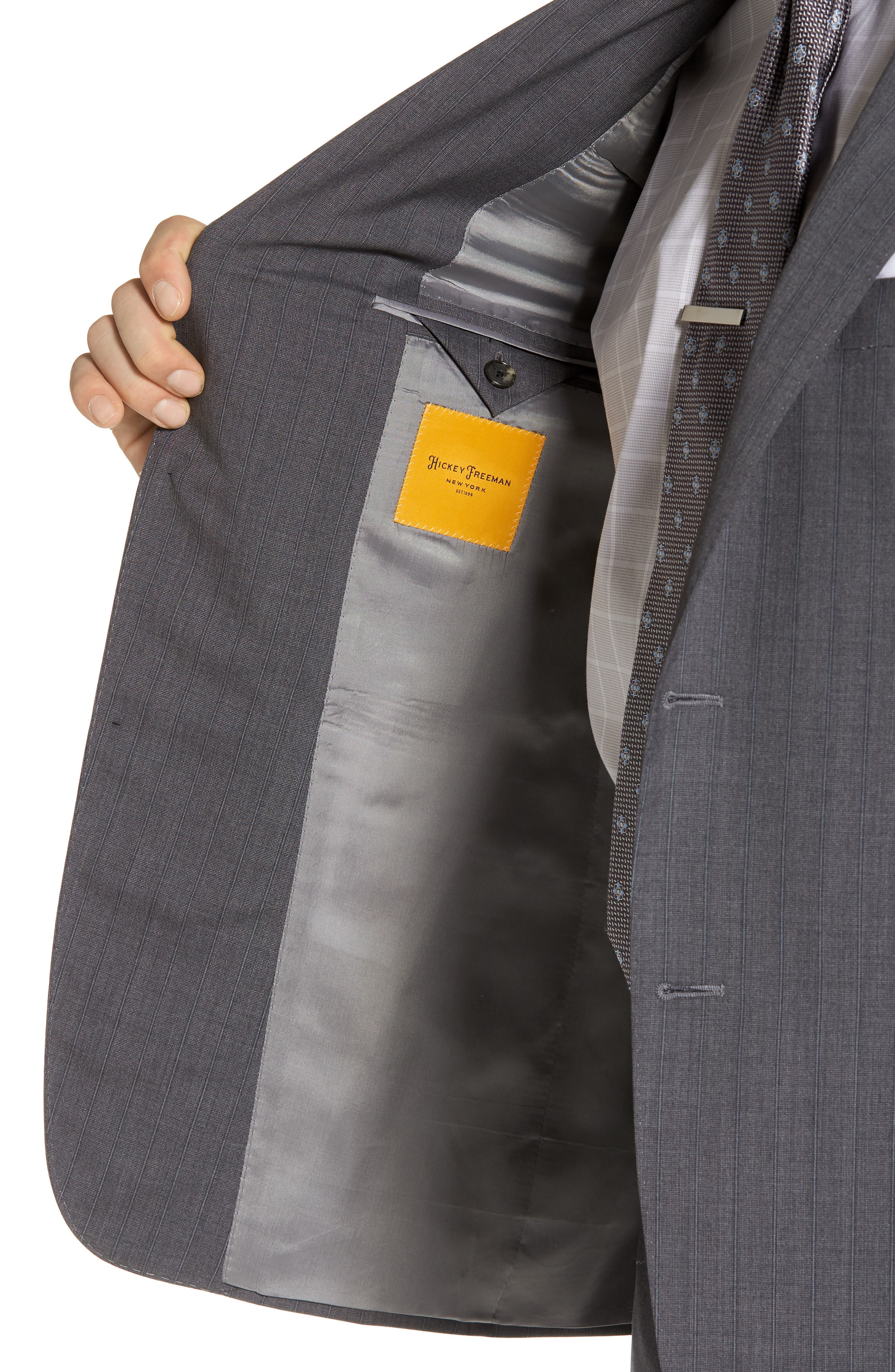 Classic B Fit Stripe Wool Suit,                             Alternate thumbnail 4, color,