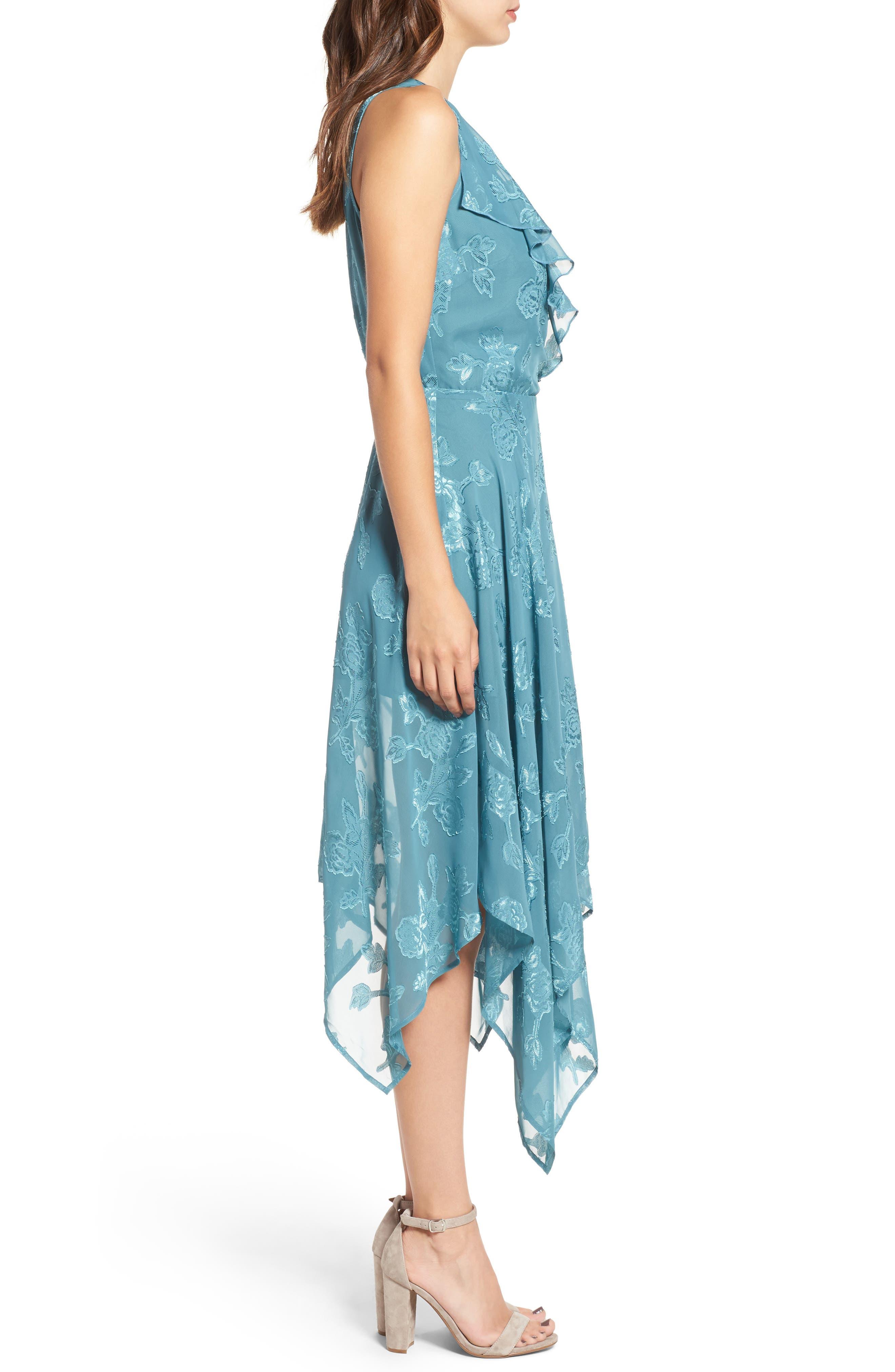 Handkerchief Hem Faux-Wrap Midi Dress,                             Alternate thumbnail 3, color,                             440