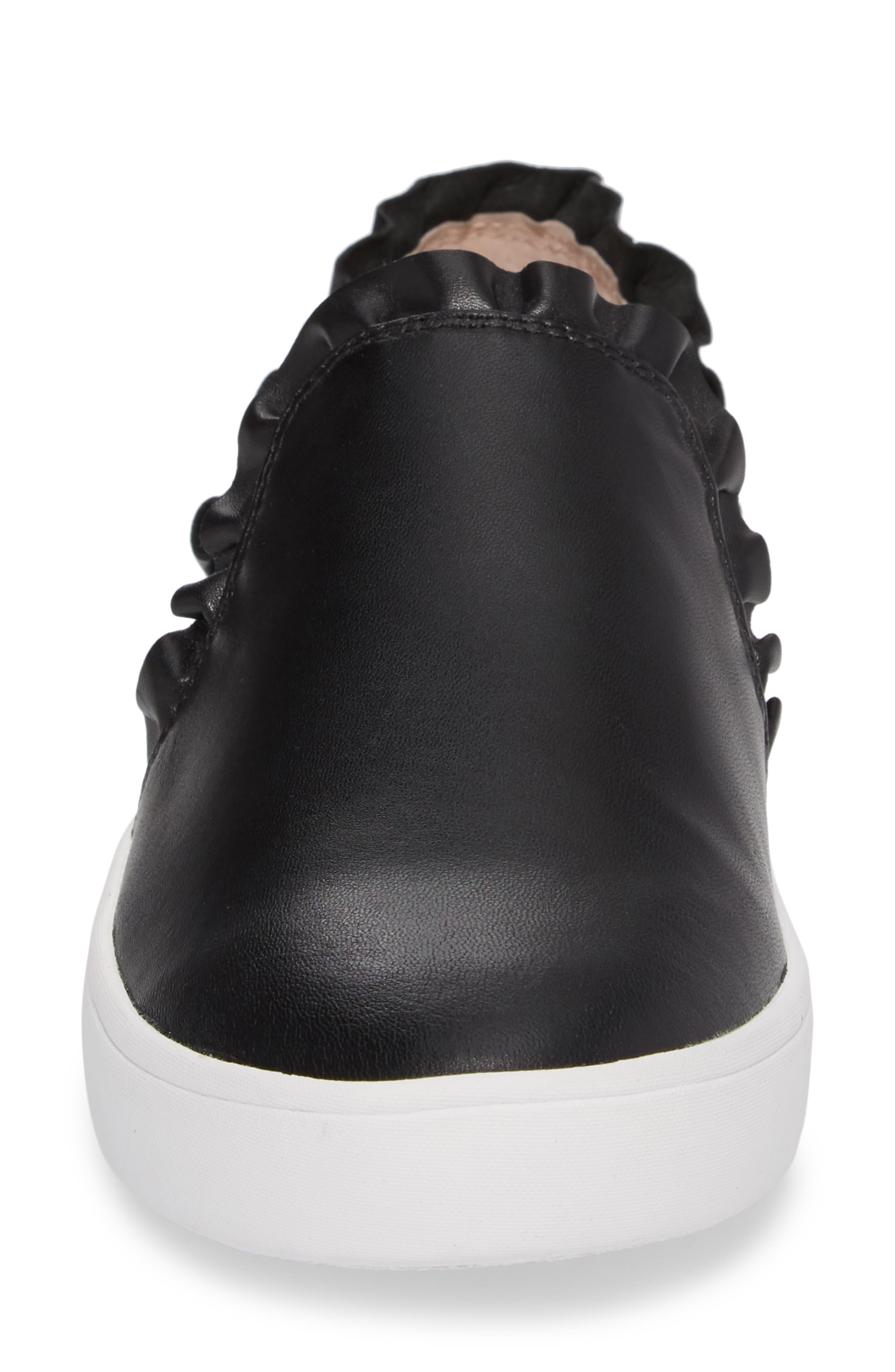 lilly ruffle slip-on sneaker,                             Alternate thumbnail 4, color,                             BLACK NAPPA