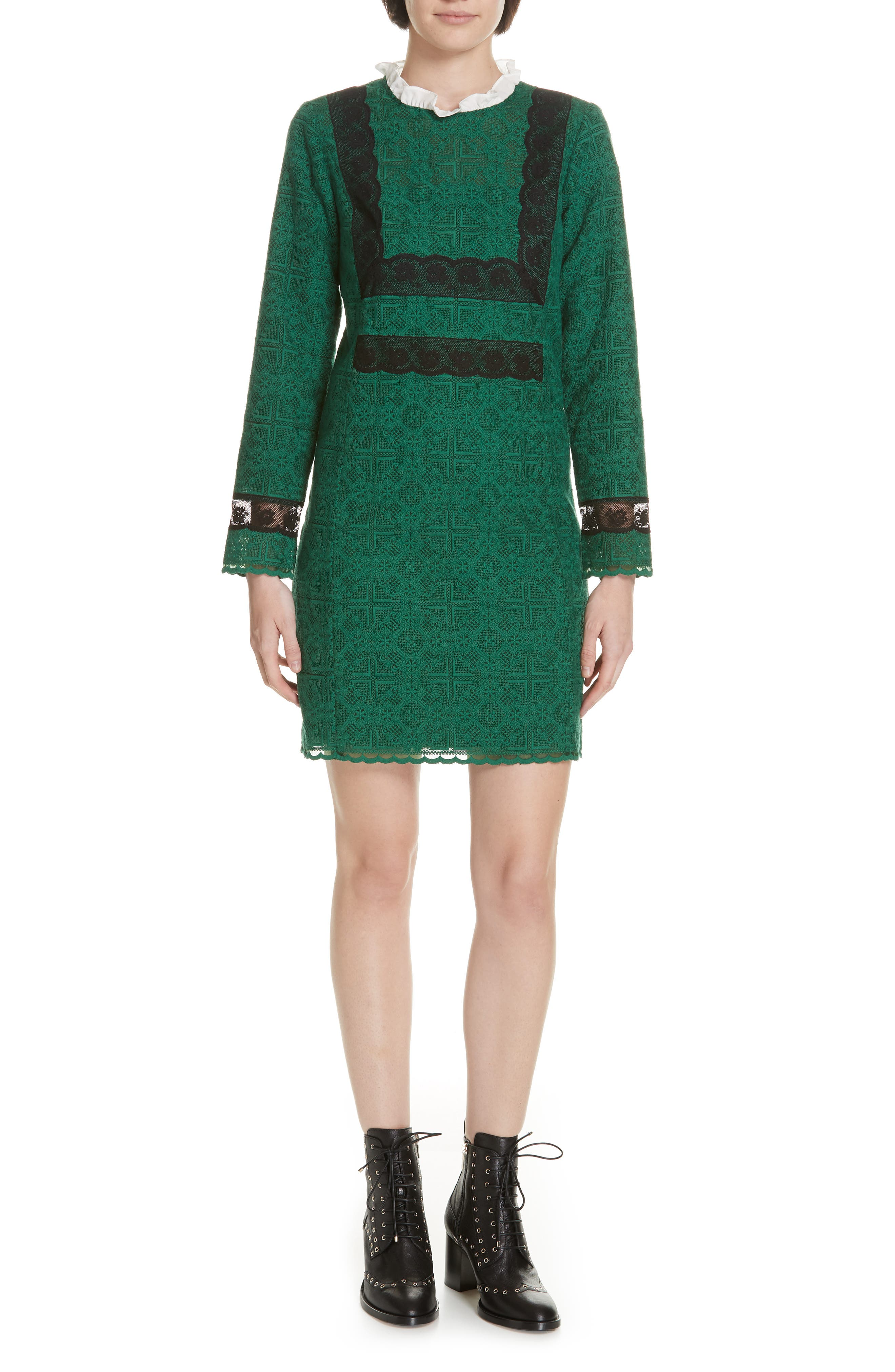 Dylan Frill Neck Lace Dress,                         Main,                         color, VERT
