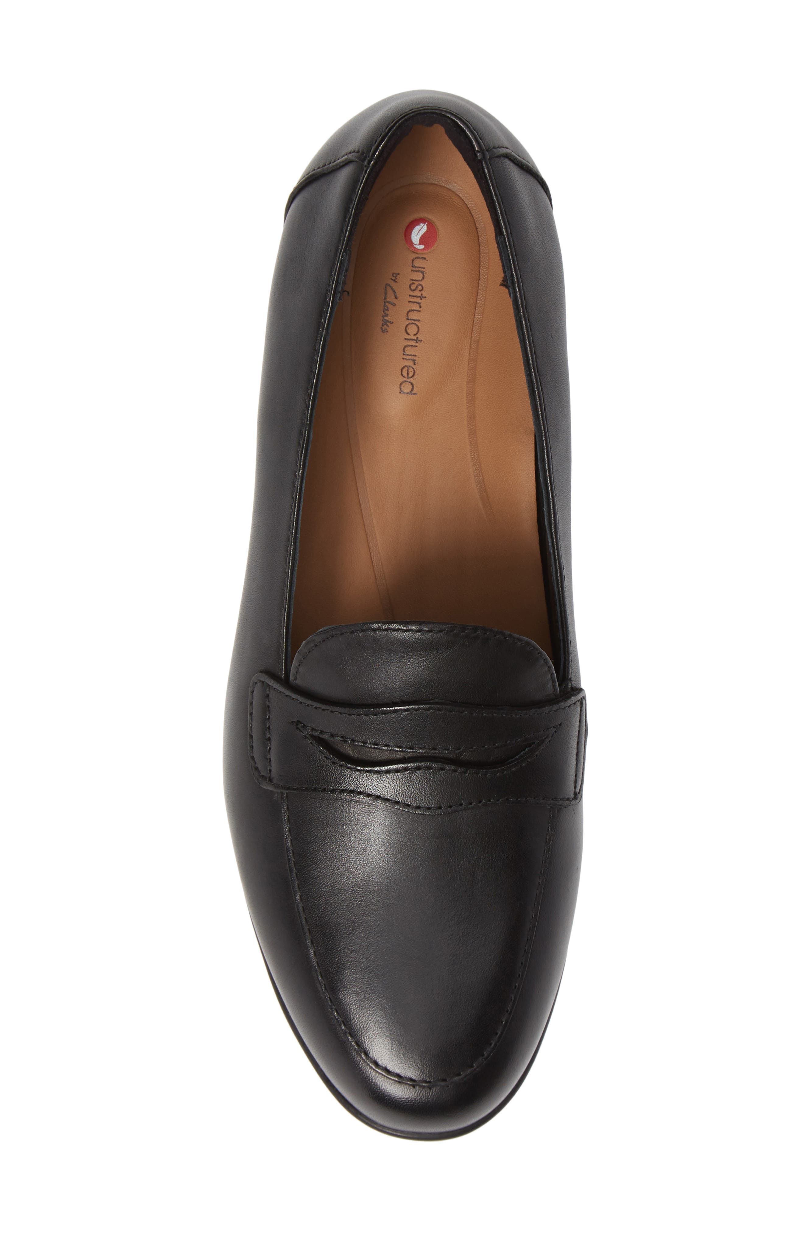 Un Blush Go Penny Loafer,                             Alternate thumbnail 5, color,                             BLACK LEATHER