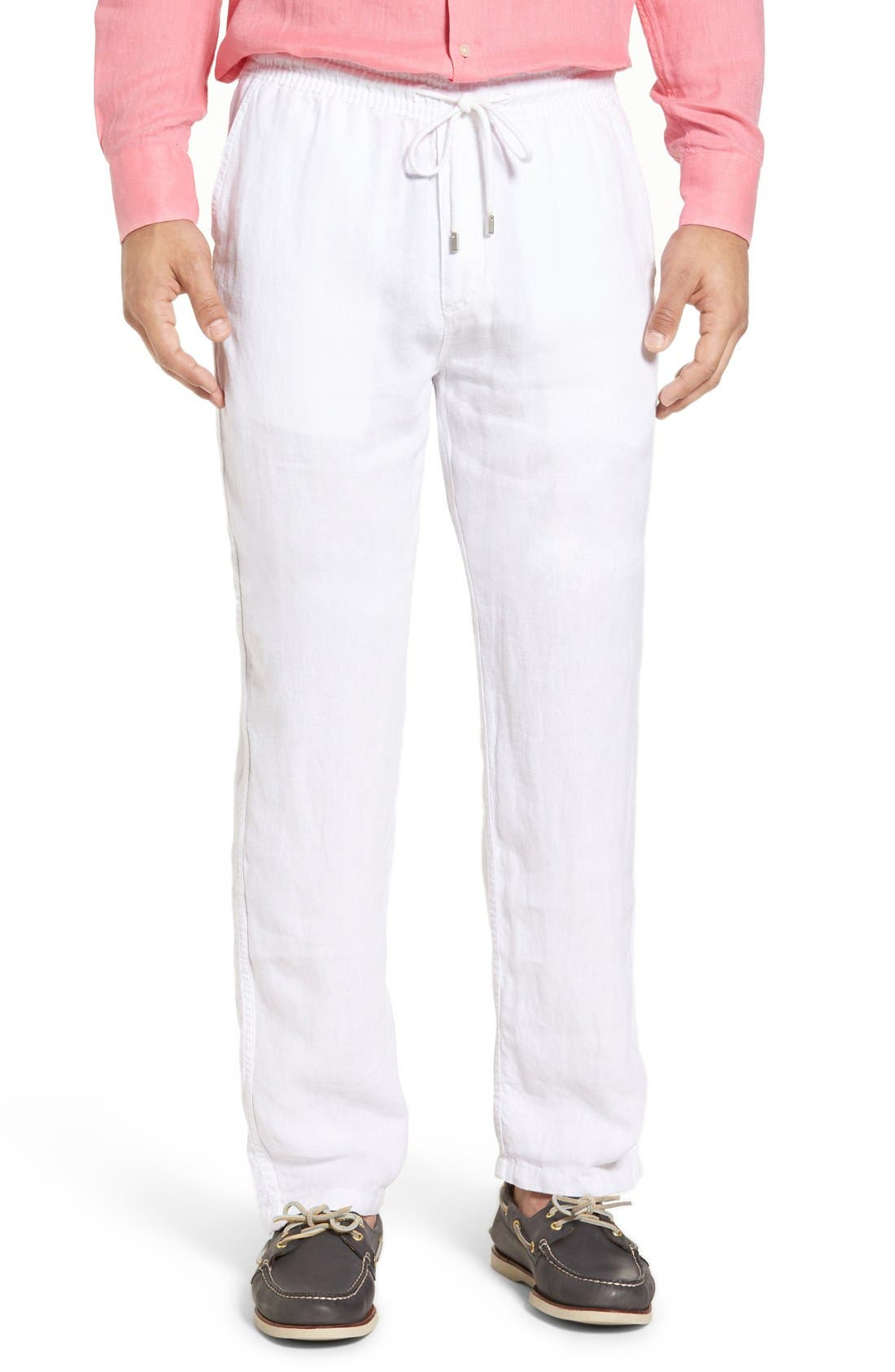 'Classic' Linen Pants,                             Main thumbnail 1, color,                             WHITE