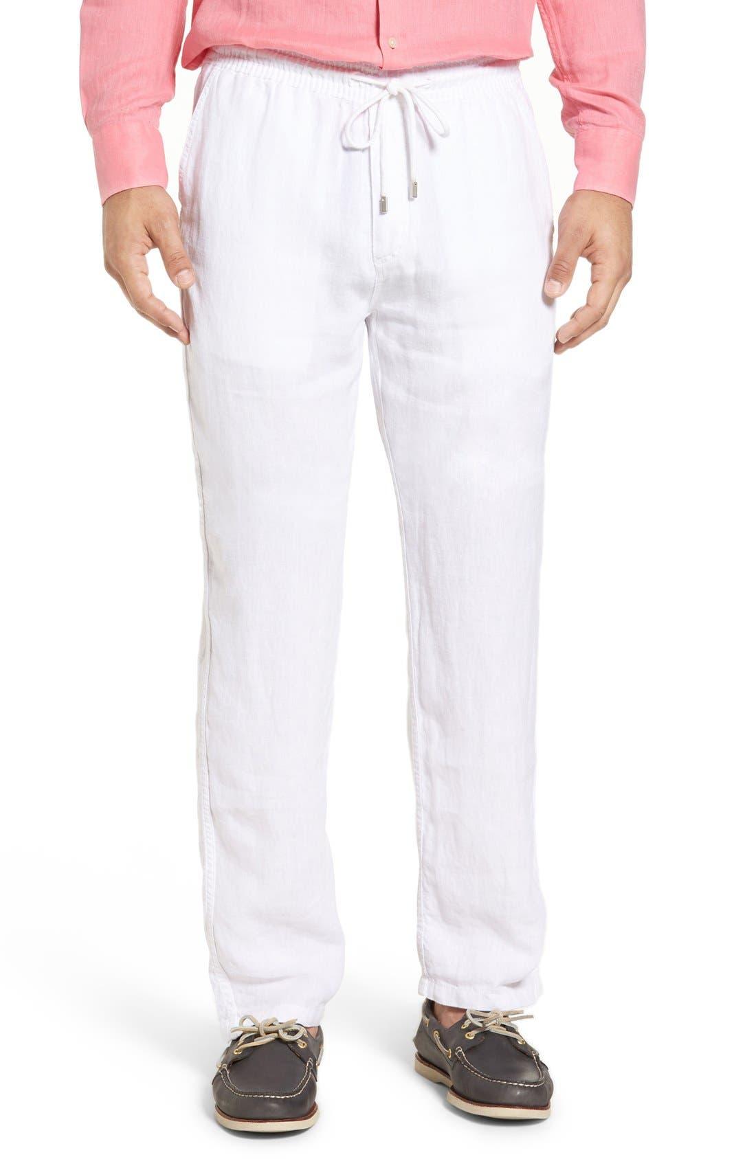 'Classic' Linen Pants,                         Main,                         color, WHITE