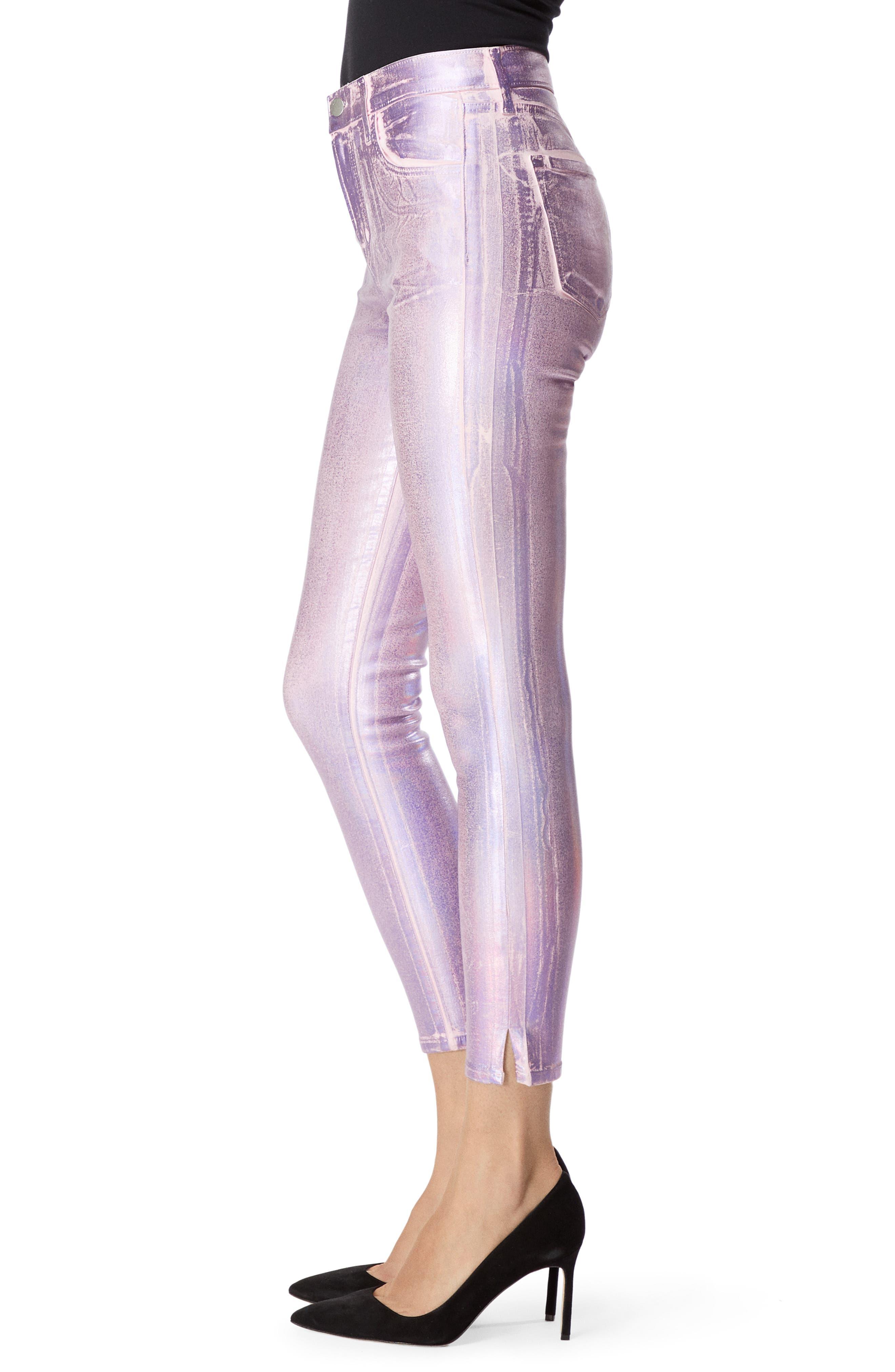 Alana High Waist Crop Skinny Jeans,                             Alternate thumbnail 3, color,                             PINK PRISM