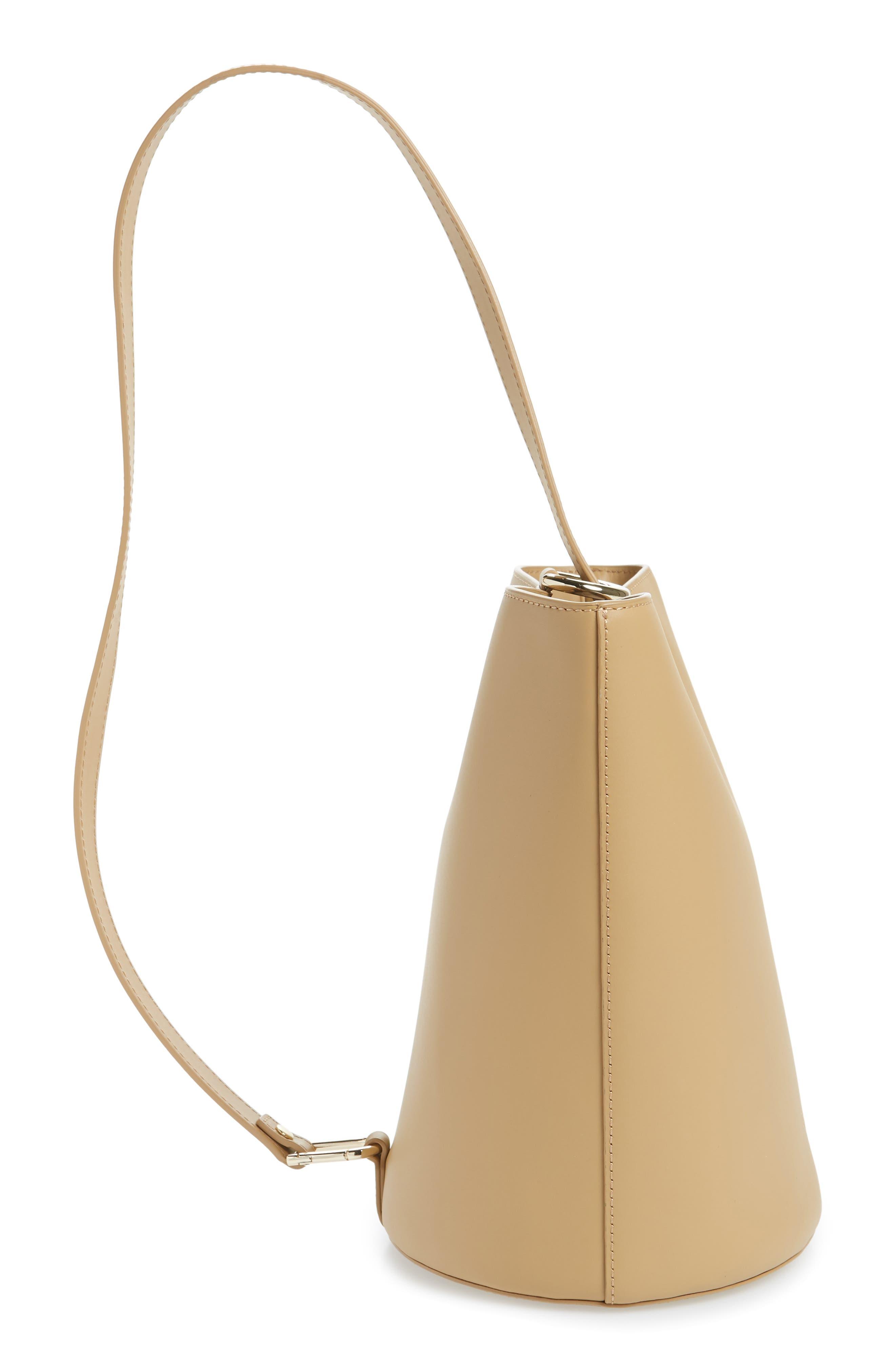 Dome Leather Bucket Bag,                             Alternate thumbnail 6, color,                             LIGHT CAMEL