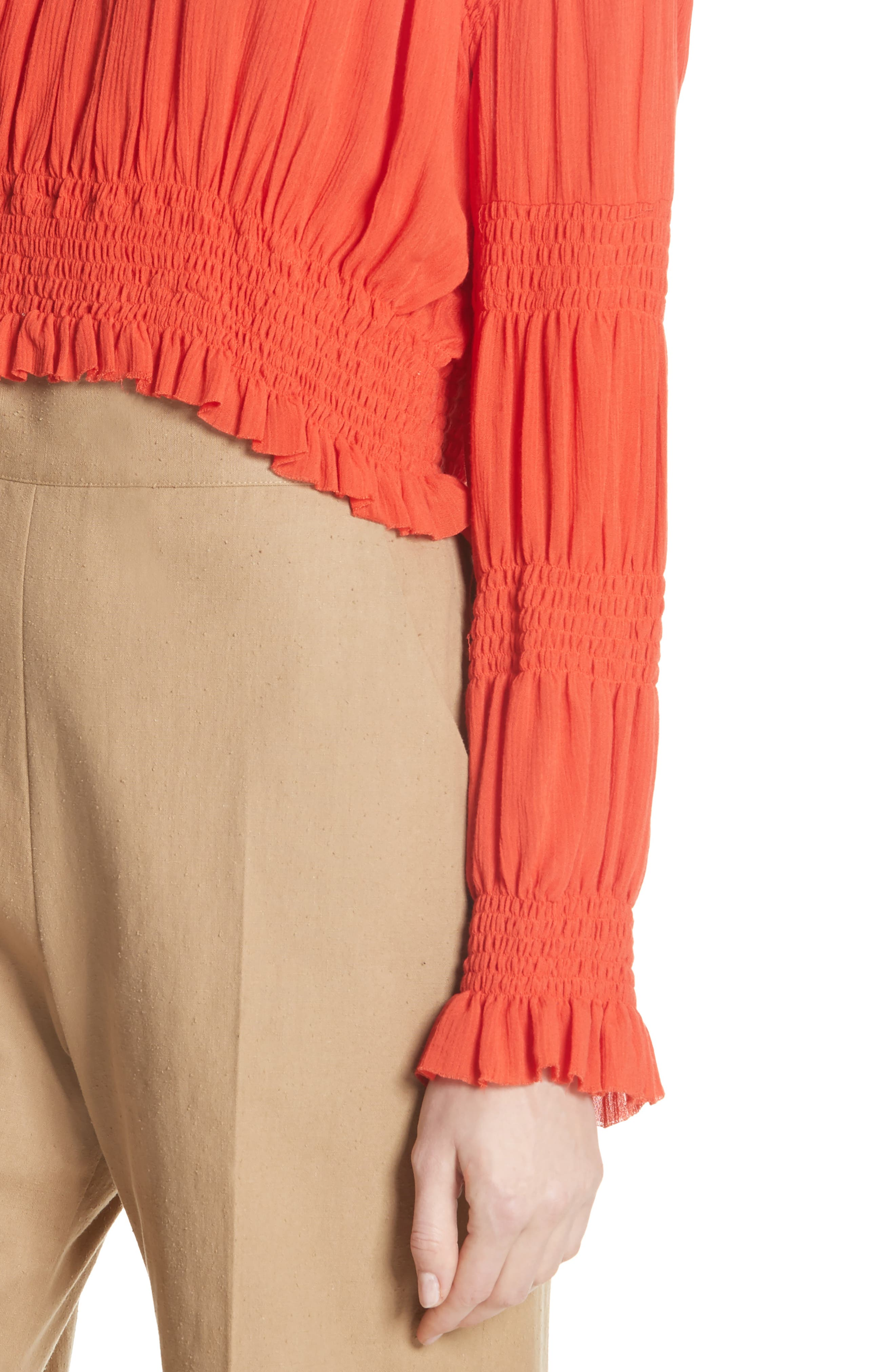 Penta Smocked Blouse,                             Alternate thumbnail 4, color,                             CORAL