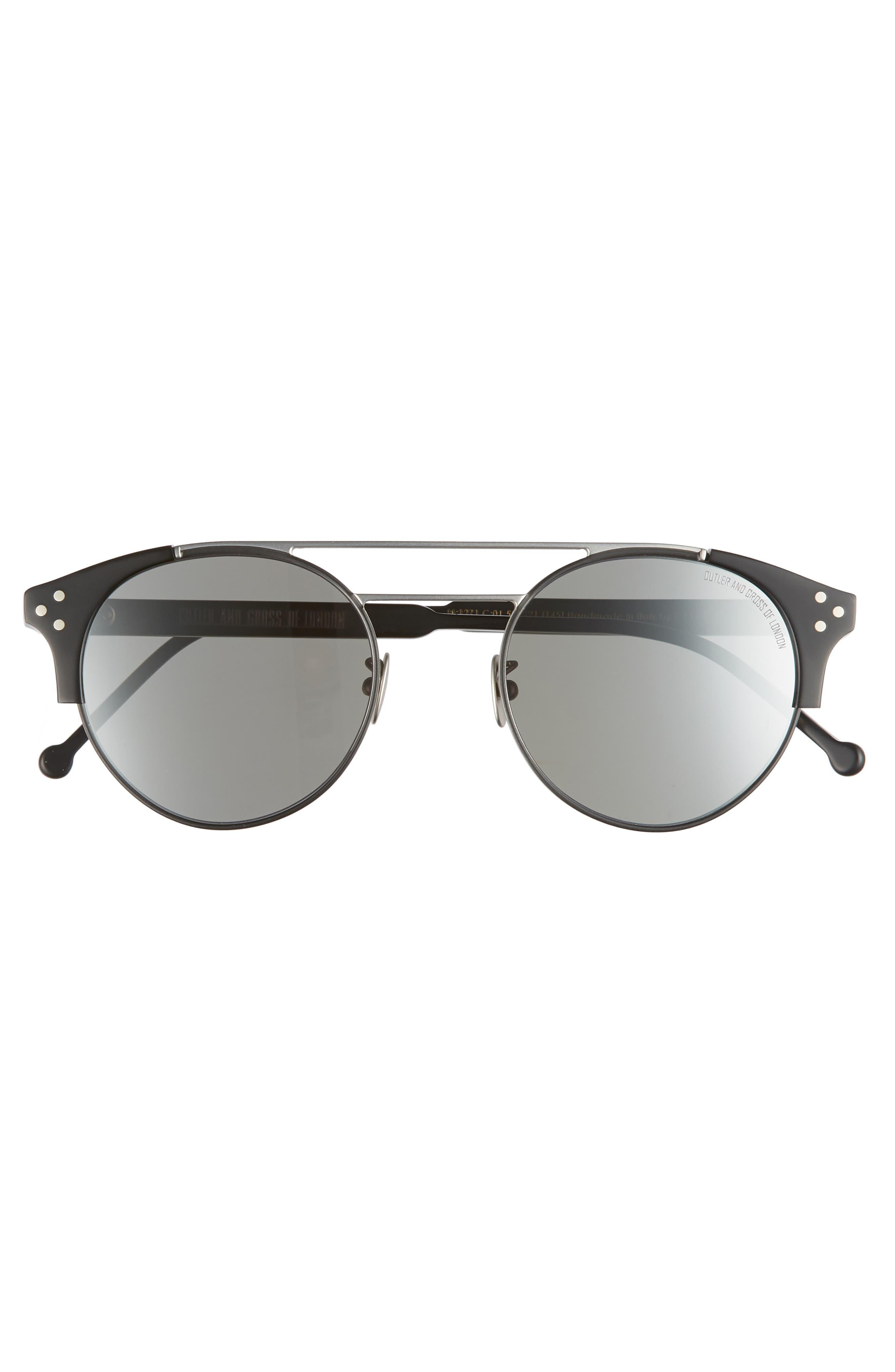 50mm Polarized Round Sunglasses,                             Alternate thumbnail 2, color,                             PALLADIUM AND BLACK/ SILVER