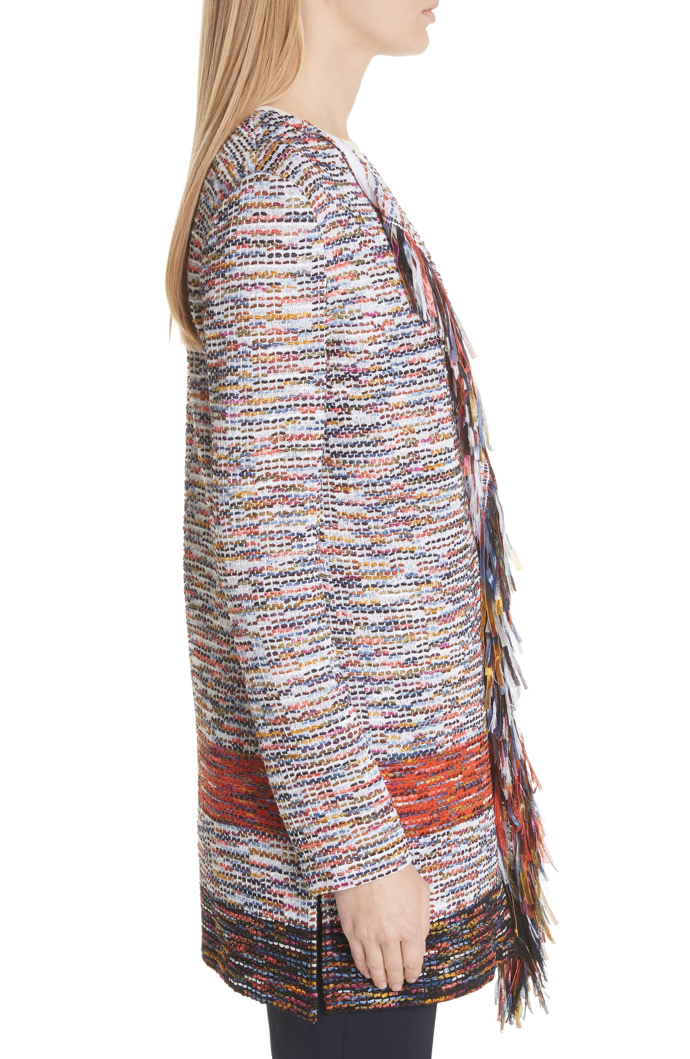 Vertical Fringe Multi Tweed Knit Waterfall Cardigan,                             Alternate thumbnail 3, color,                             SIENNA MULTI