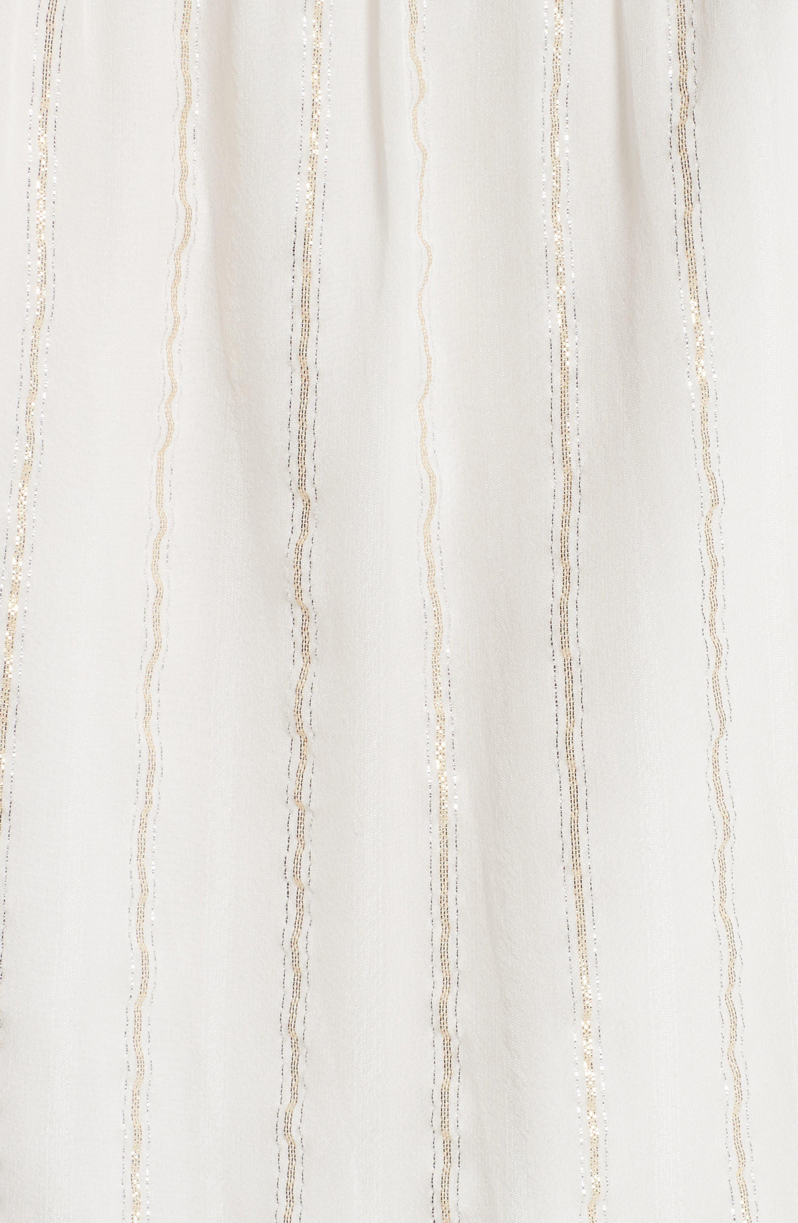 Klea Metallic Stripe Silk Midi Dress,                             Alternate thumbnail 5, color,                             114
