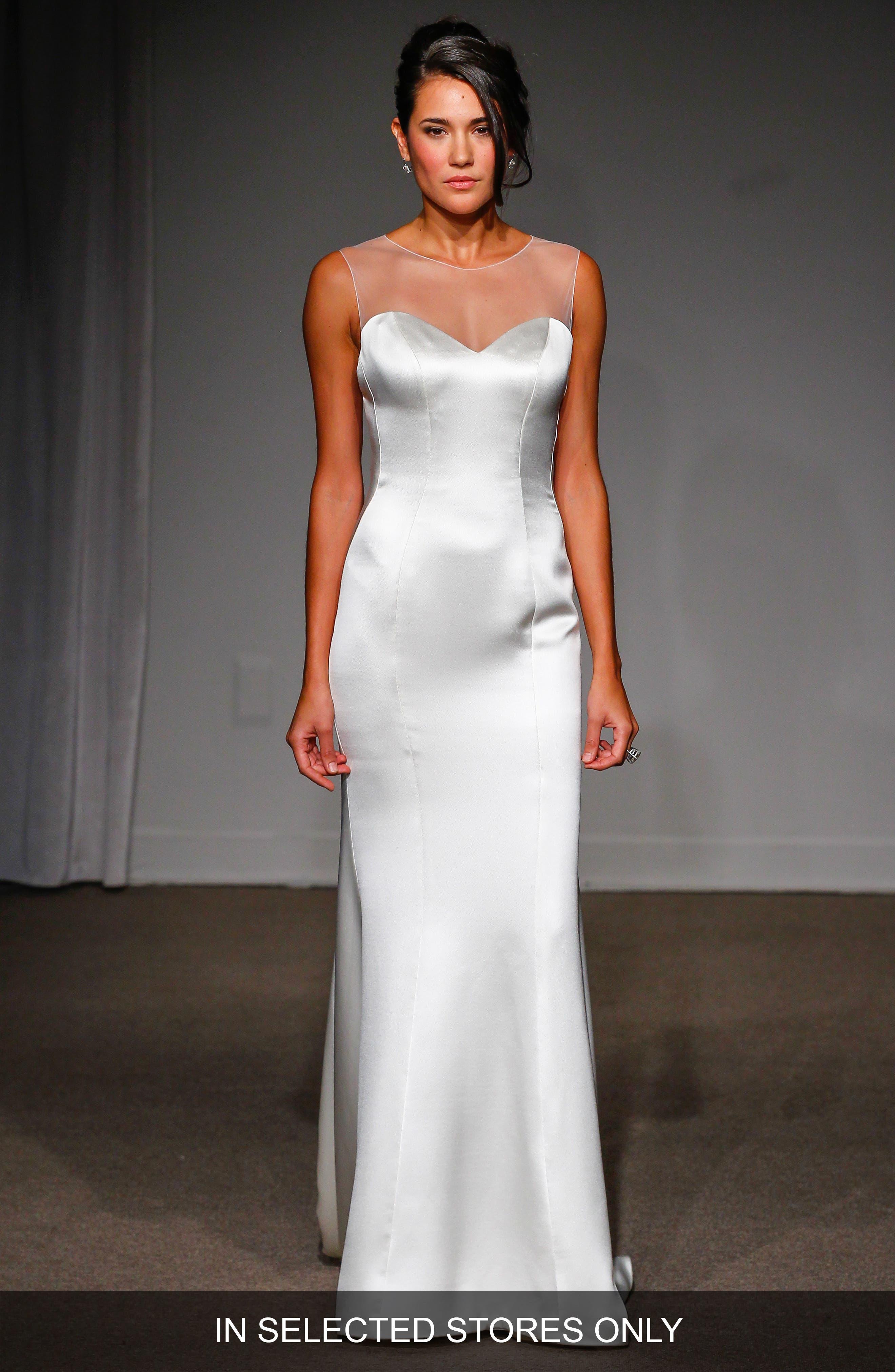 Nicole Illusion Neck Satin A-Line Gown,                             Alternate thumbnail 2, color,                             100