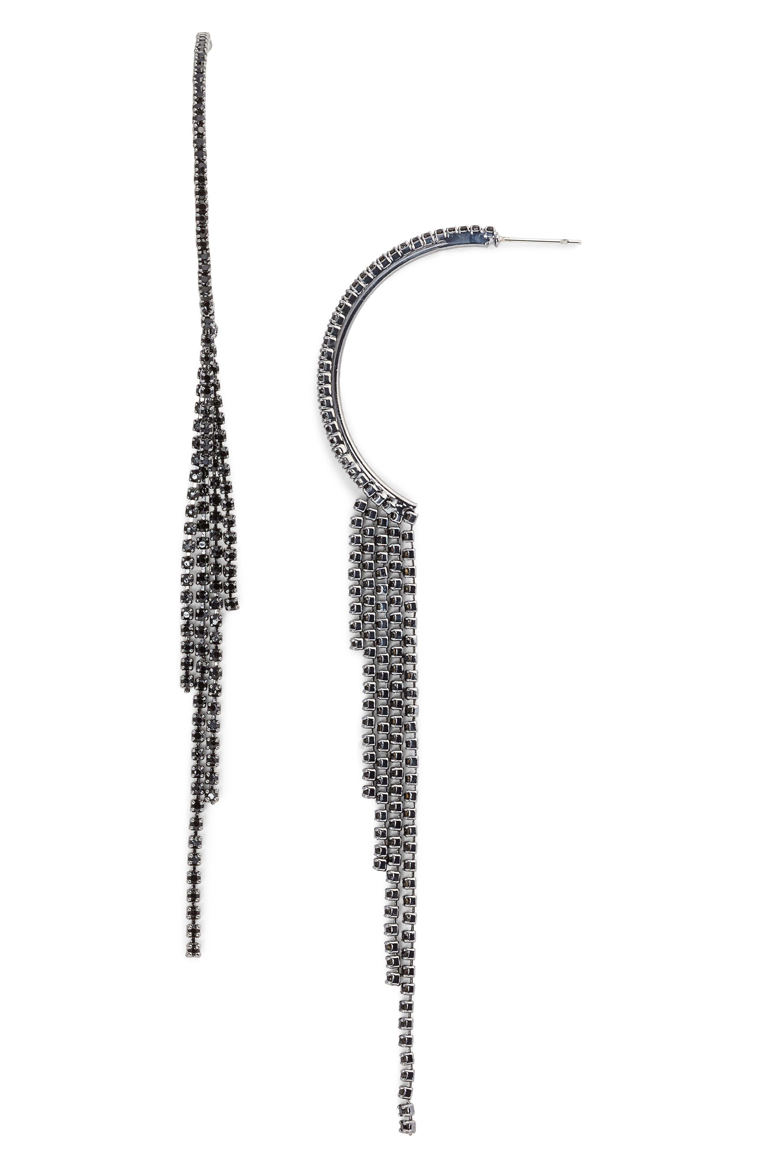Crystal Fringe Earrings,                             Main thumbnail 1, color,                             001