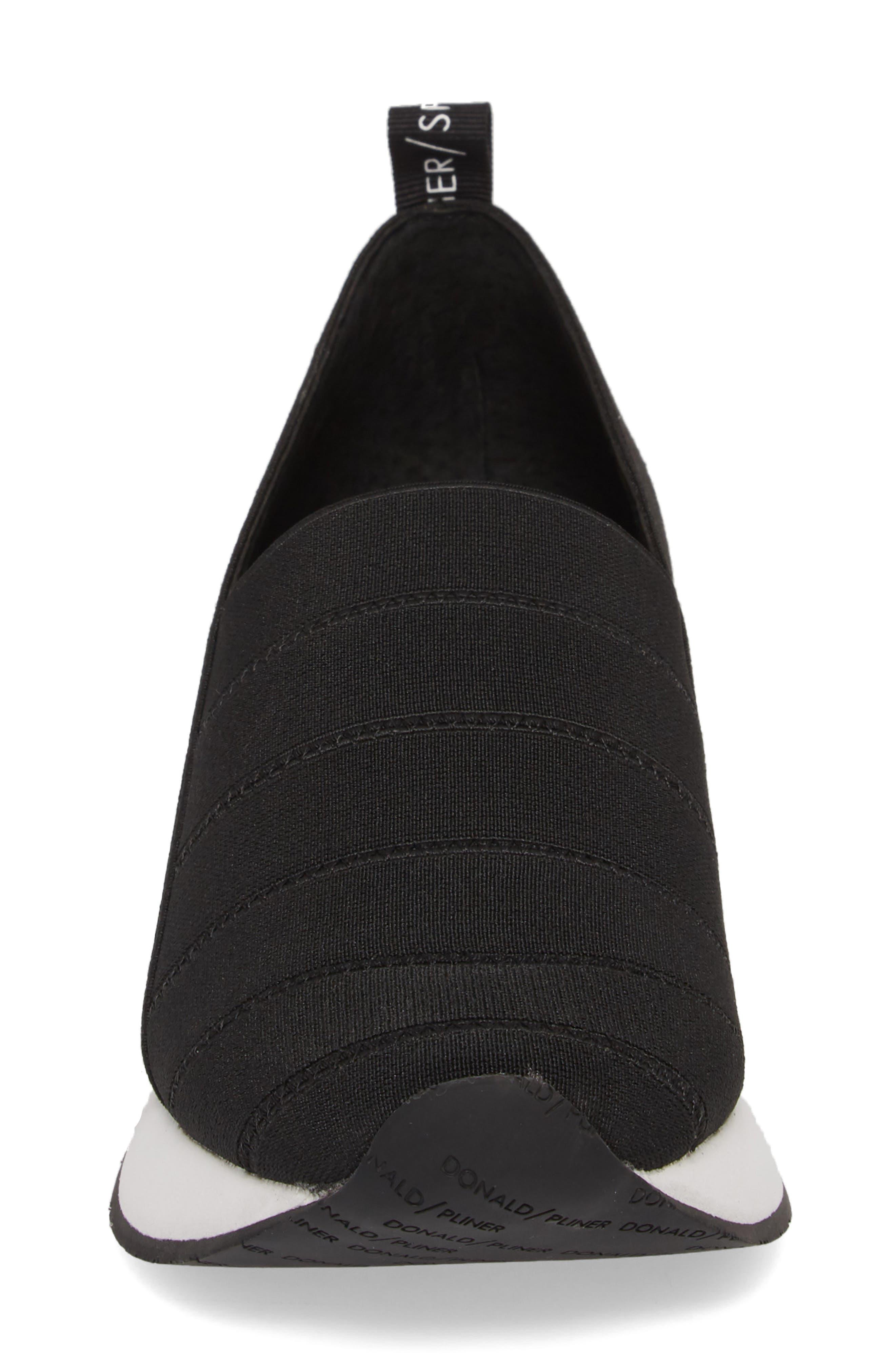 Piper Platform Slip-On Sneaker,                             Alternate thumbnail 4, color,                             BLACK STRETCH FABRIC