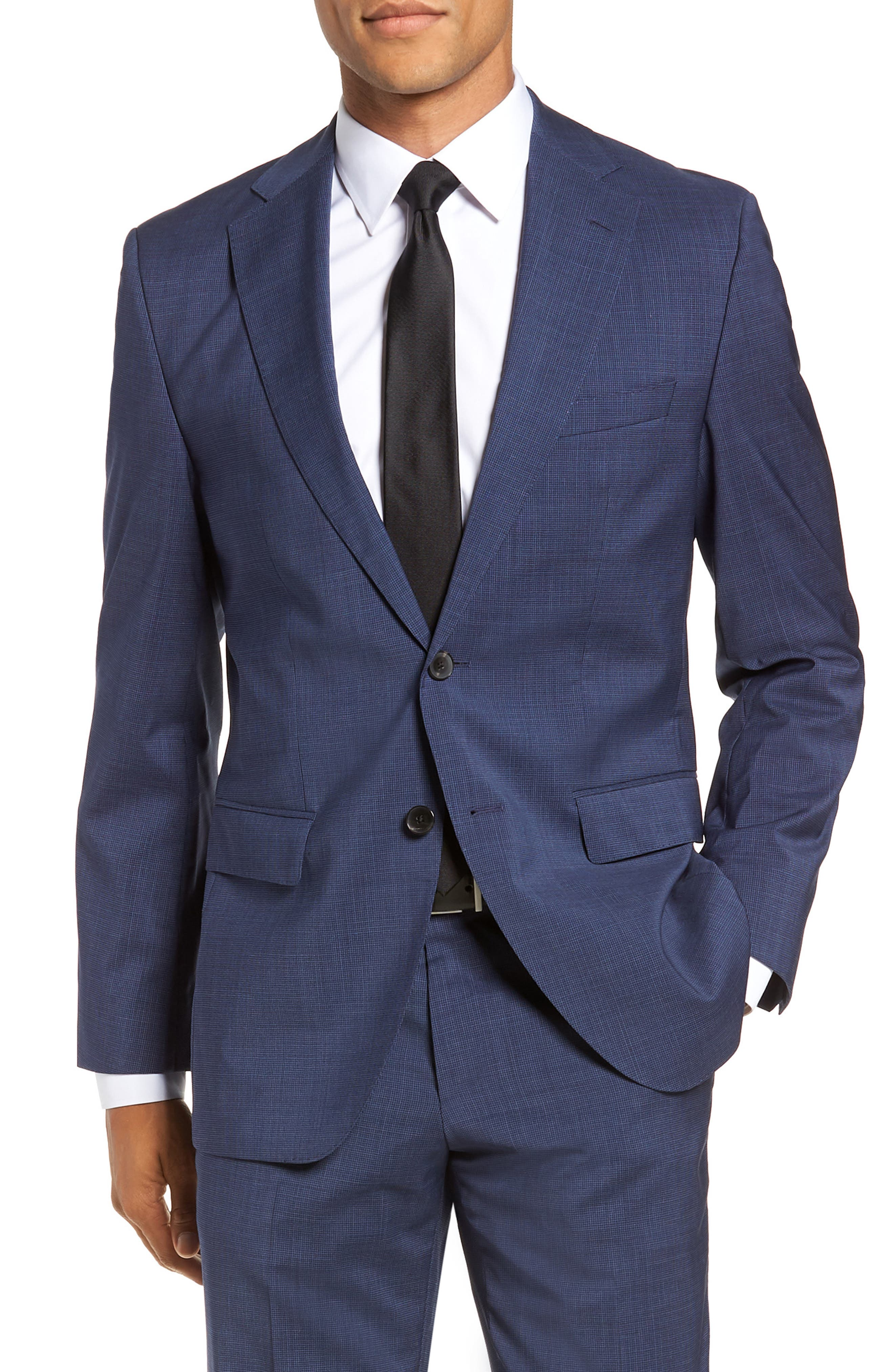 Johnstons/Lenon Classic Fit Houndstooth Wool Suit,                             Alternate thumbnail 6, color,                             BLUE