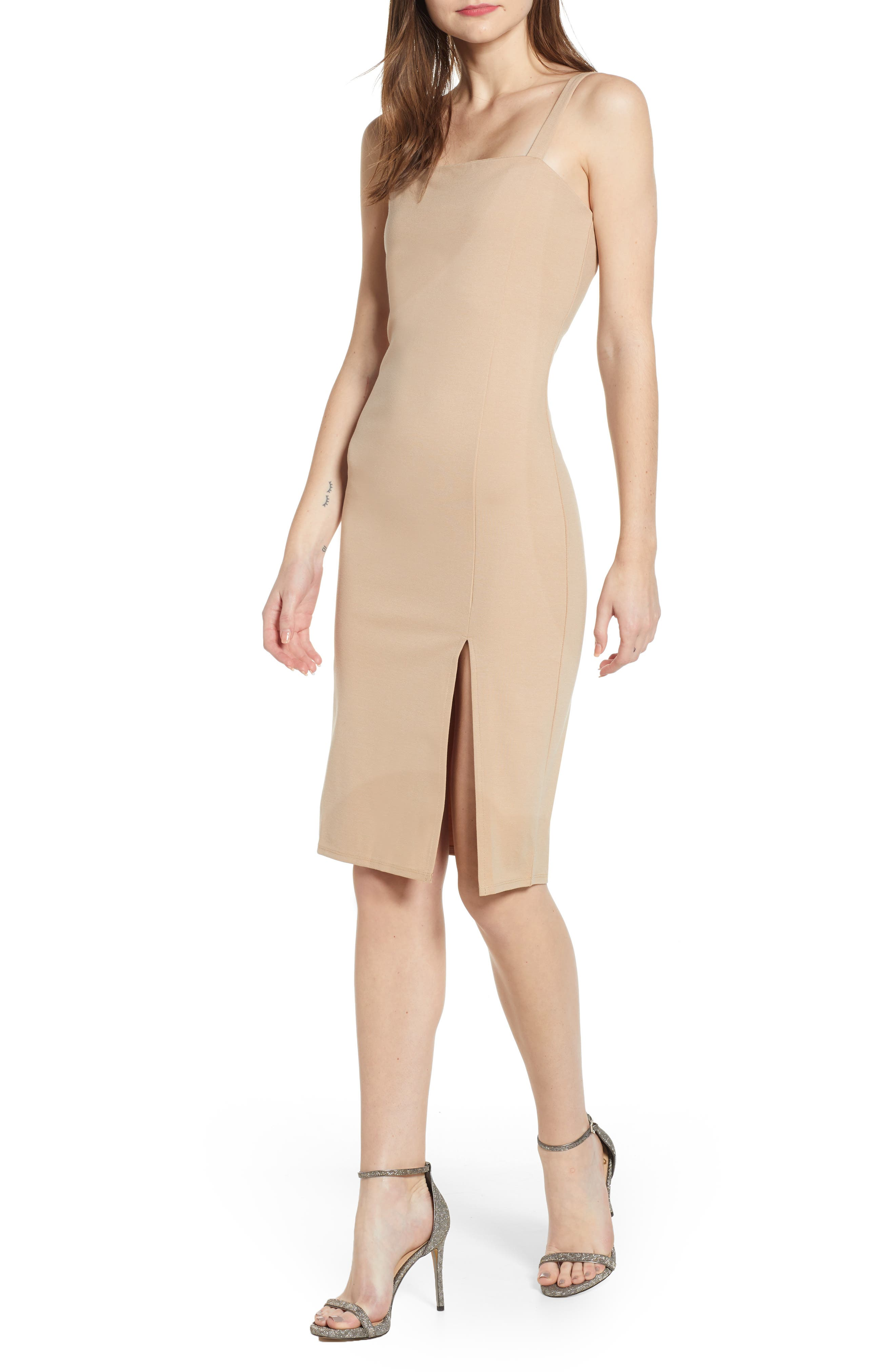 Leith Square Neck Sheath Dress, Brown