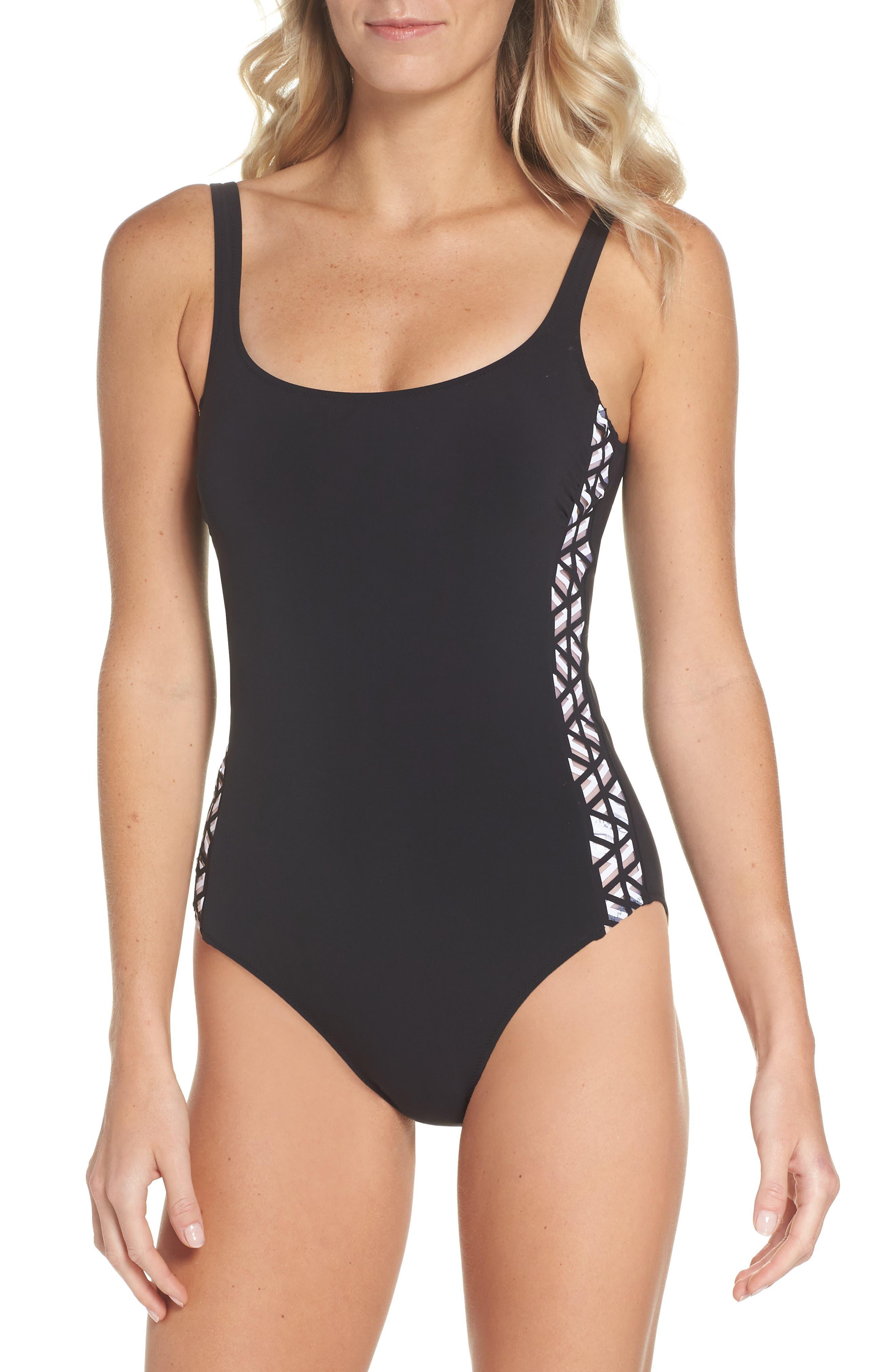 Round Neck One-Piece Swimsuit,                         Main,                         color, BLACK