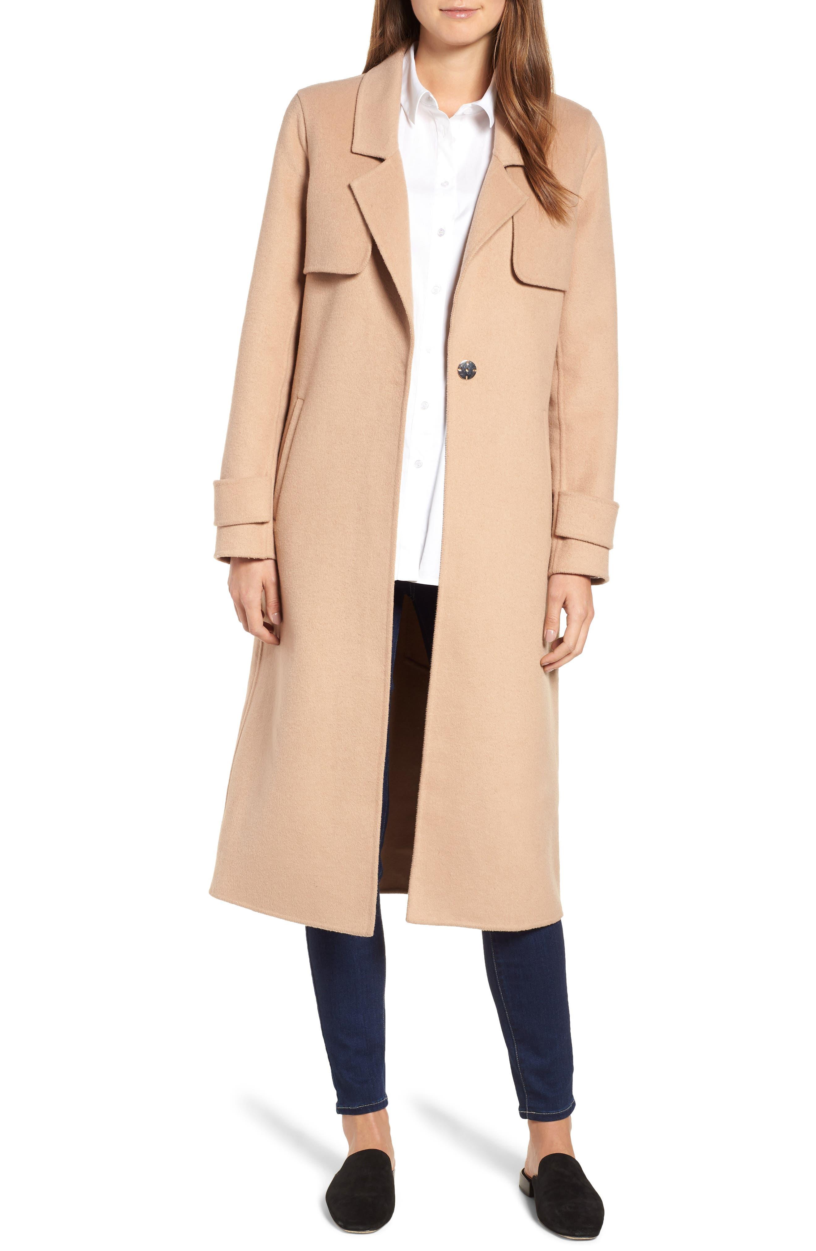 Double Face Wool Blend Long Coat,                             Main thumbnail 1, color,                             CAMEL