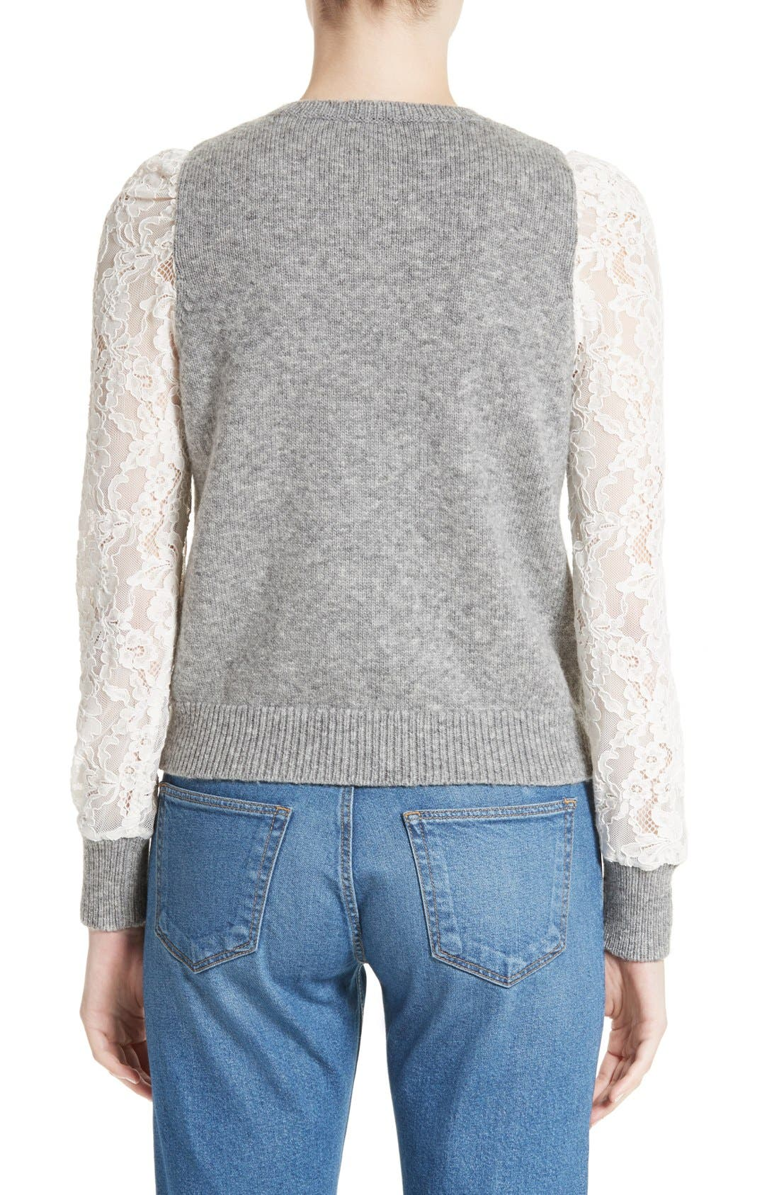 REBECCA TAYLOR,                             Lace Sleeve Sweater,                             Alternate thumbnail 6, color,                             063